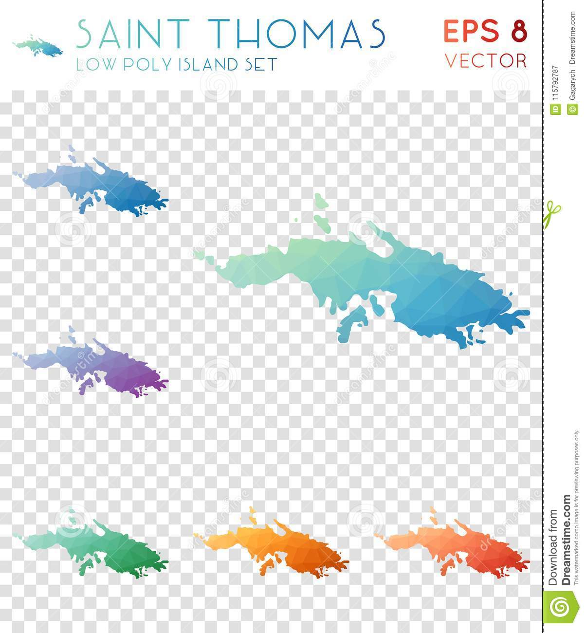 Saint Thomas Geometric Polygonal Maps, Mosaic. Stock Vector ...