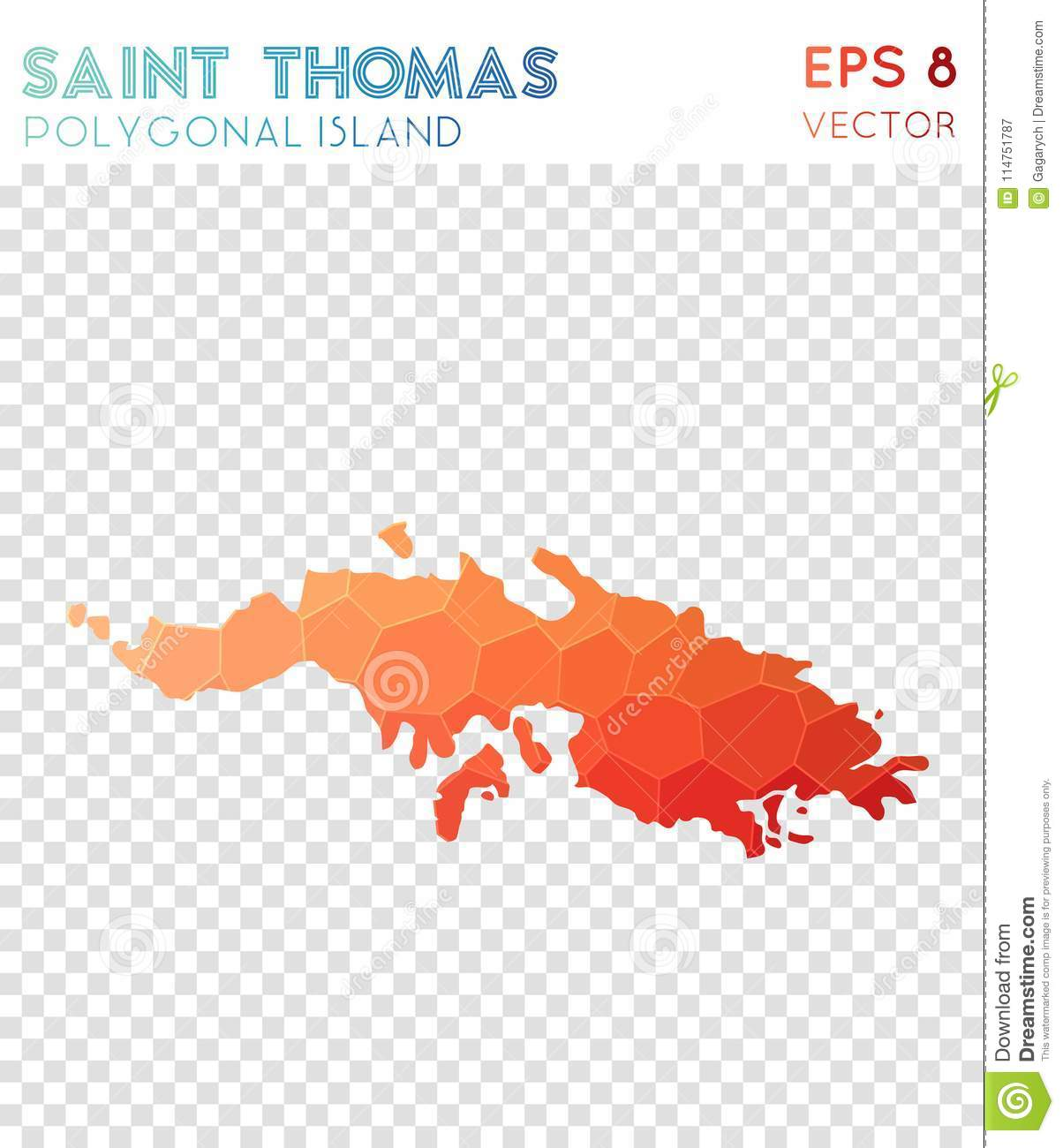 Saint Thomas Polygonal Map, Mosaic Style Island. Stock Vector ...