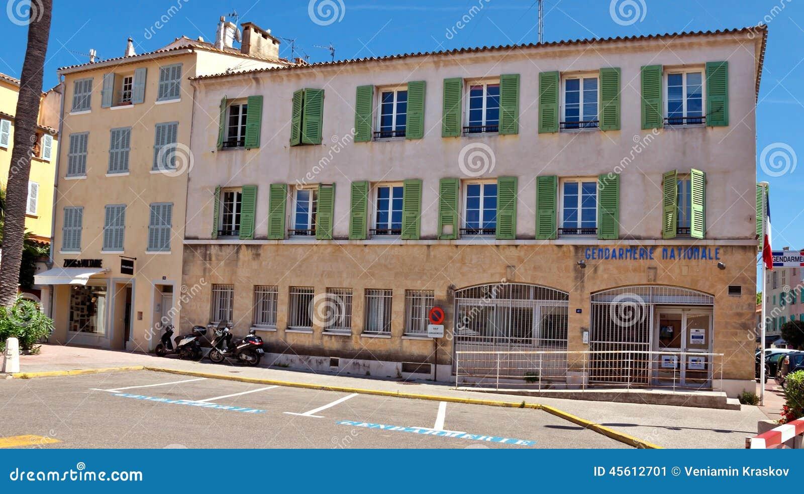 saint tropez gendarmerie building editorial photo image of pavement france 45612701. Black Bedroom Furniture Sets. Home Design Ideas