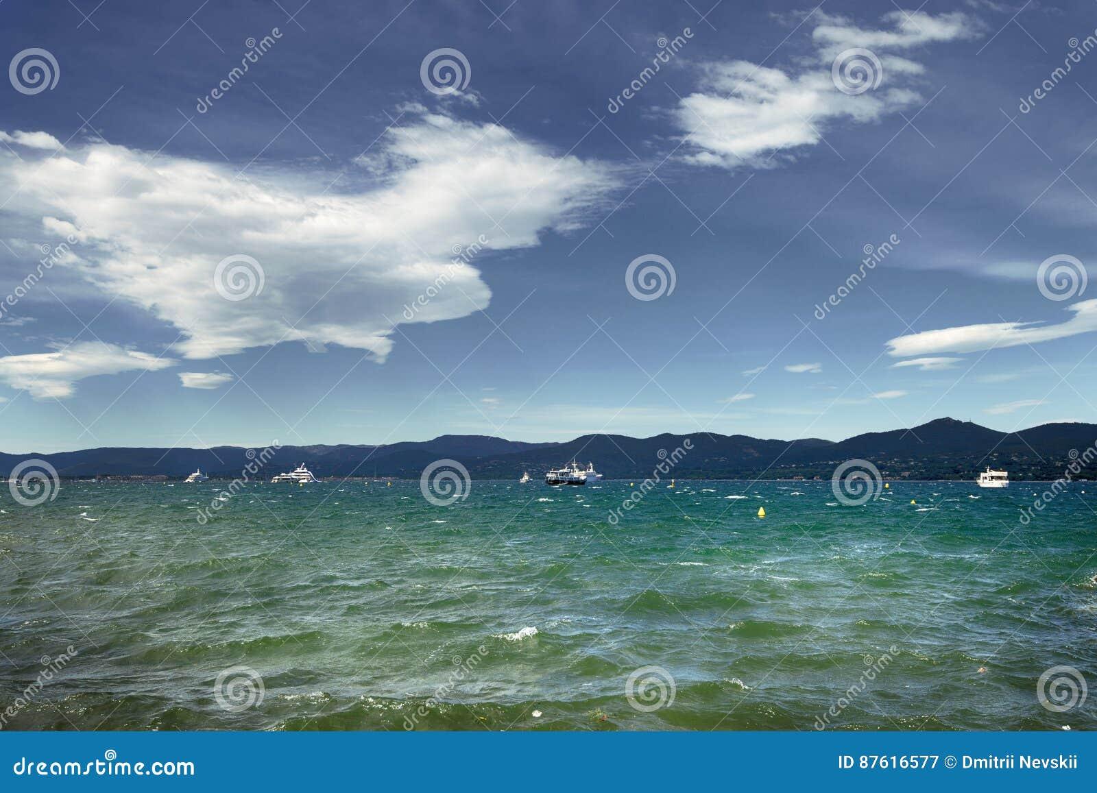 Saint Tropez Strand Am Morgen Franzosisches Riviera Stockbild