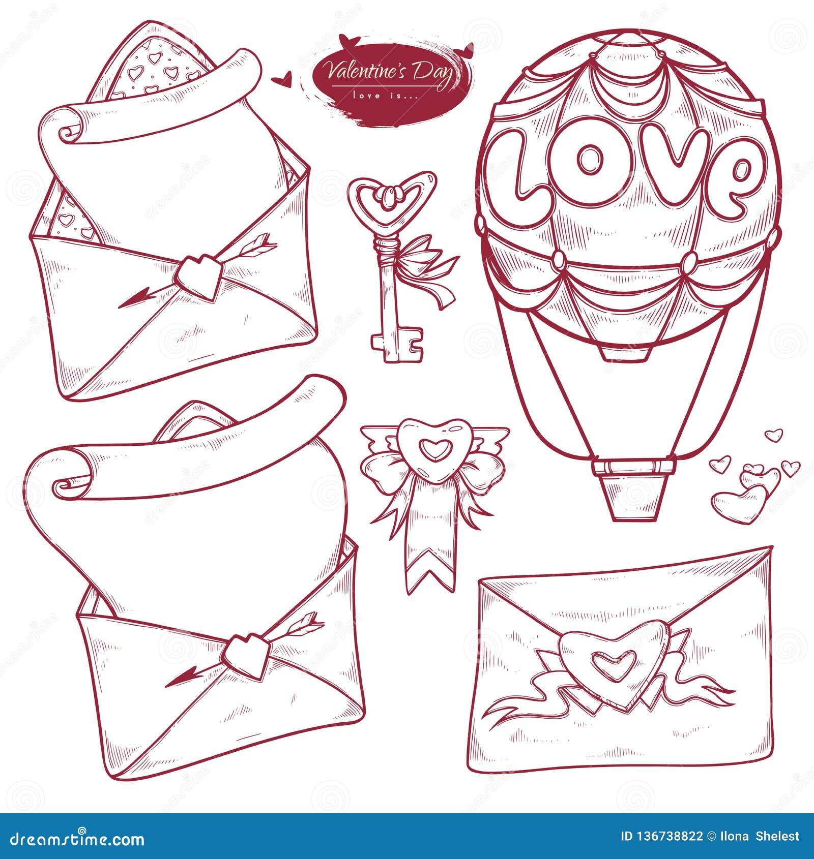 Saint-Valentin d ensemble de vecteur Les variantes tirées par la main d illustration du message dans l enveloppe, aiment la lettr