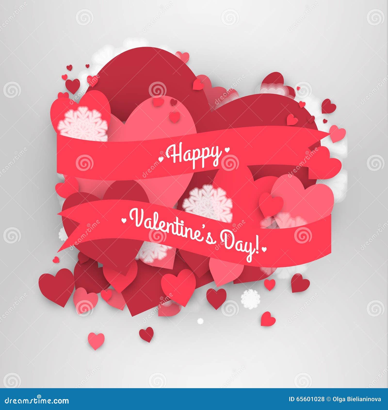 Saint-Valentin heureuse de St ! Fond abstrait avec le ruban et les flocons de neige et les coeurs de vol au jour de St Valentine