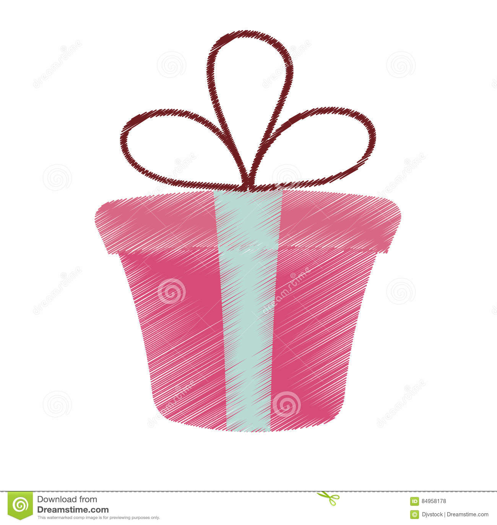Saint Valentin Rose De Dessin De Ruban De Present De Boite Cadeau