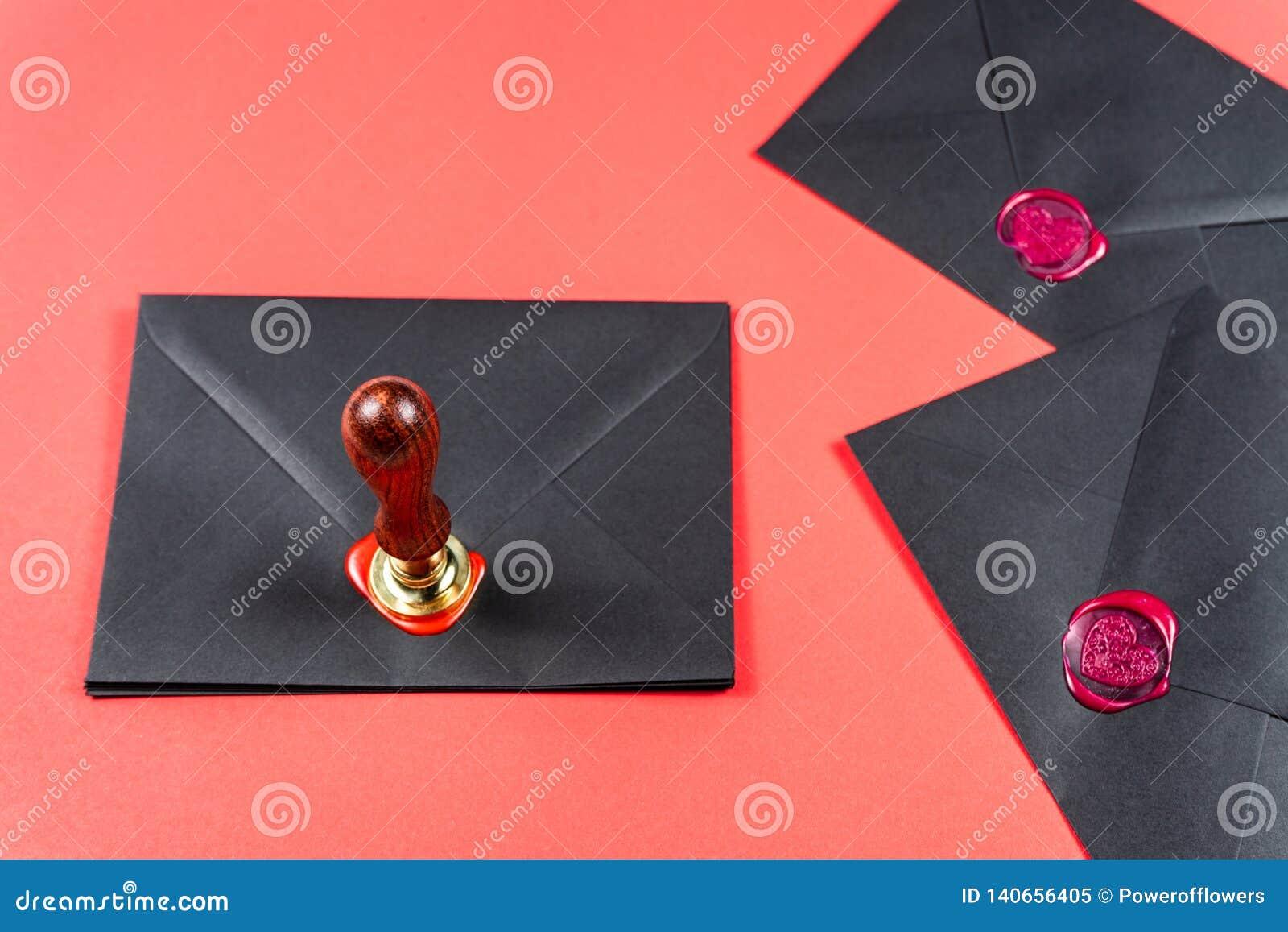 Saint Valentine`s Day concept.Heart Wax Stamp