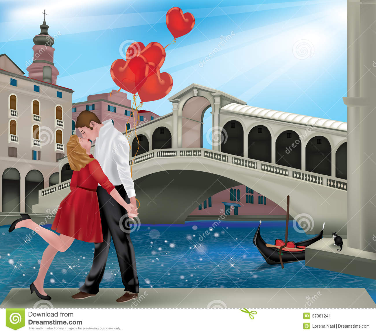 Saint Valentine in Venice stock image. Image of blue - 37081241