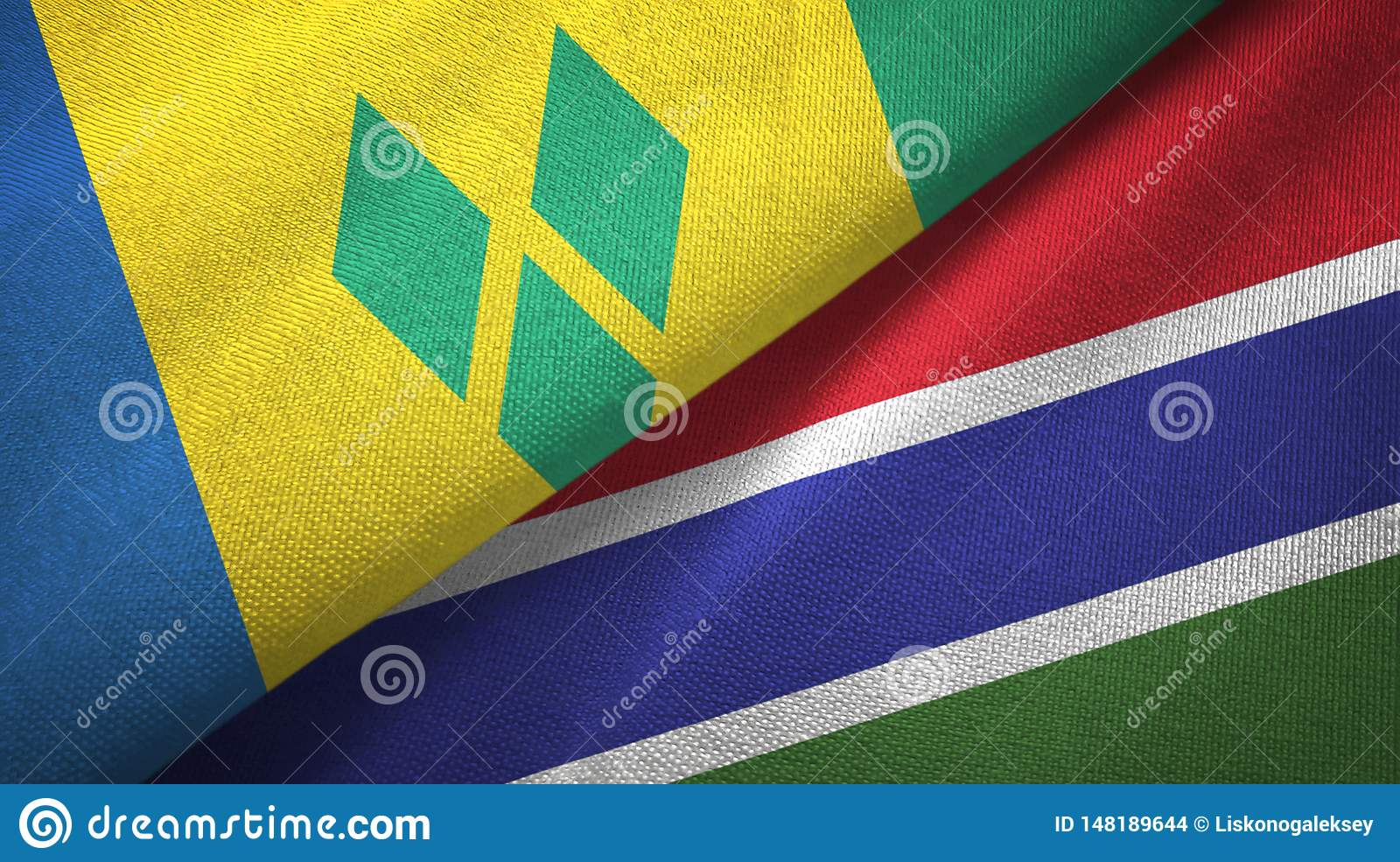 Saint Vincent and the Grenadines and Gambia two flags