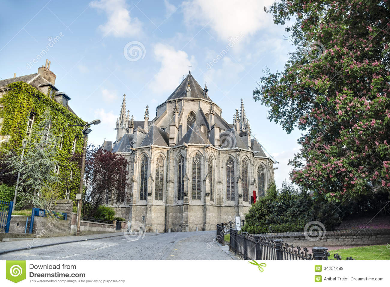 Saint Waltrude Church In Mons, Belgium. Royalty Free Stock Images ...