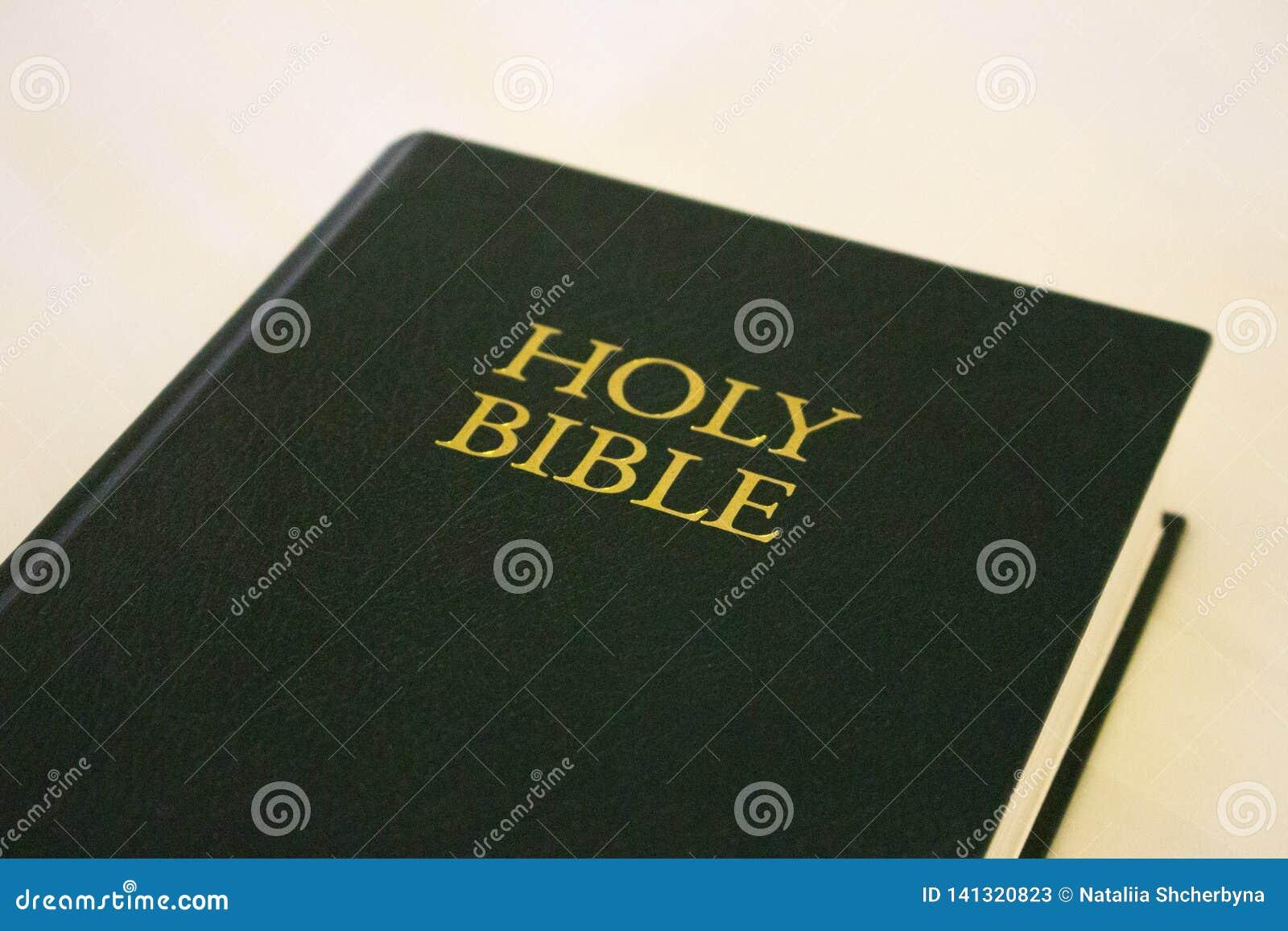 Sainte Bible verte sur le fond blanc Concept de religion et de foi Littérature religieuse Bible verte d isolement