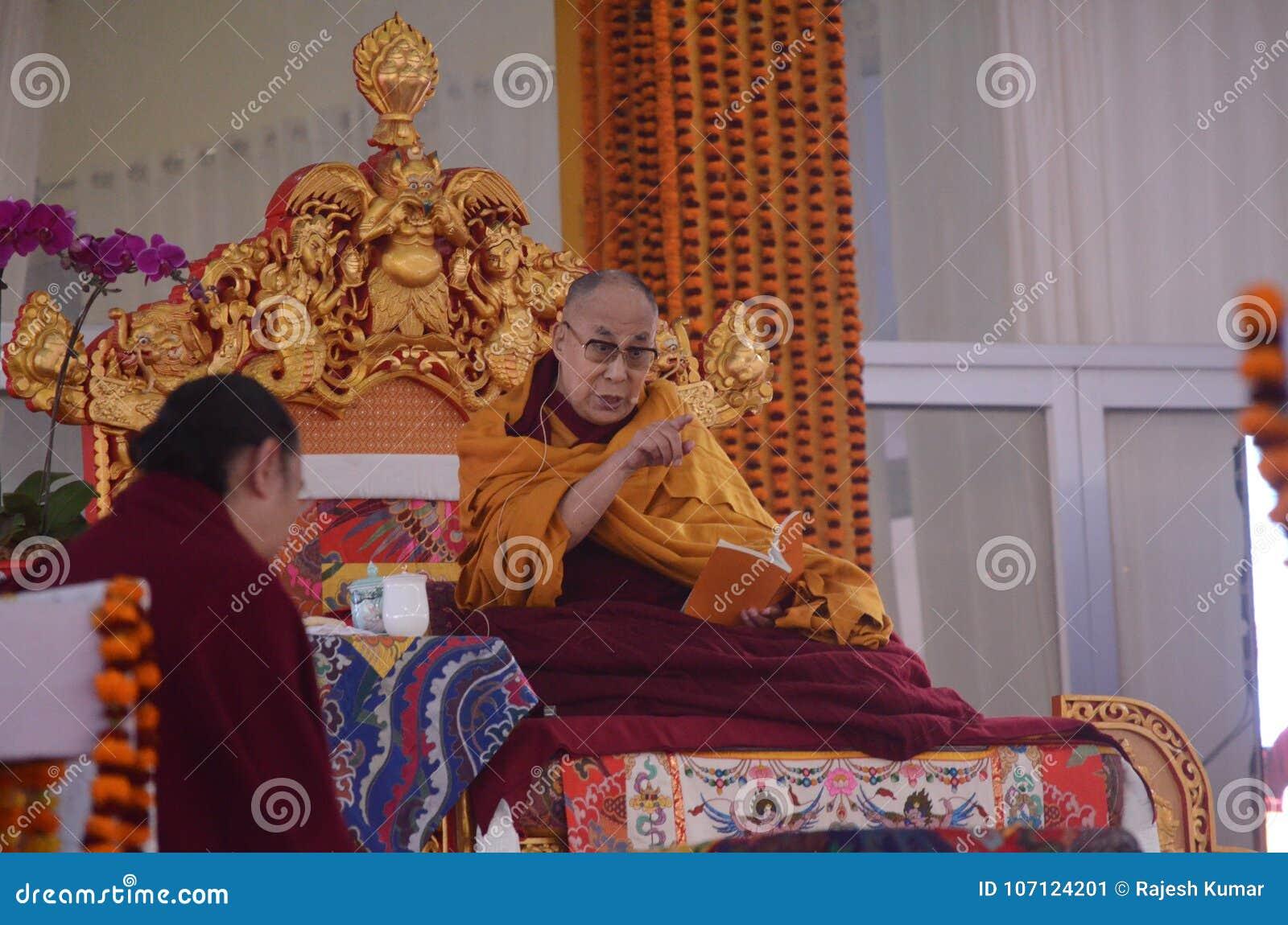 Sainteté Dalaï lama dans Bodhgaya, Inde