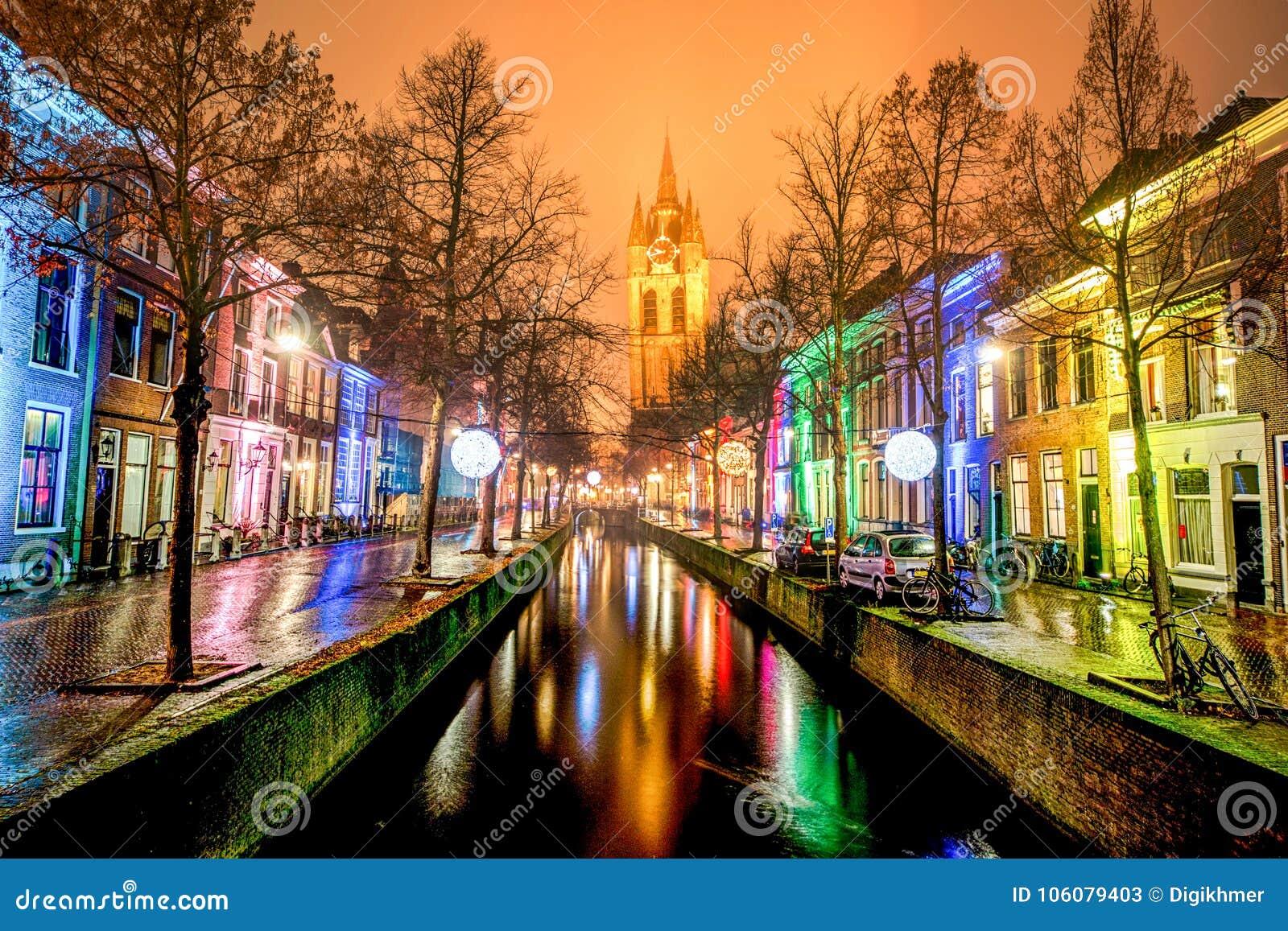 Saison de festival de lumière de Delft