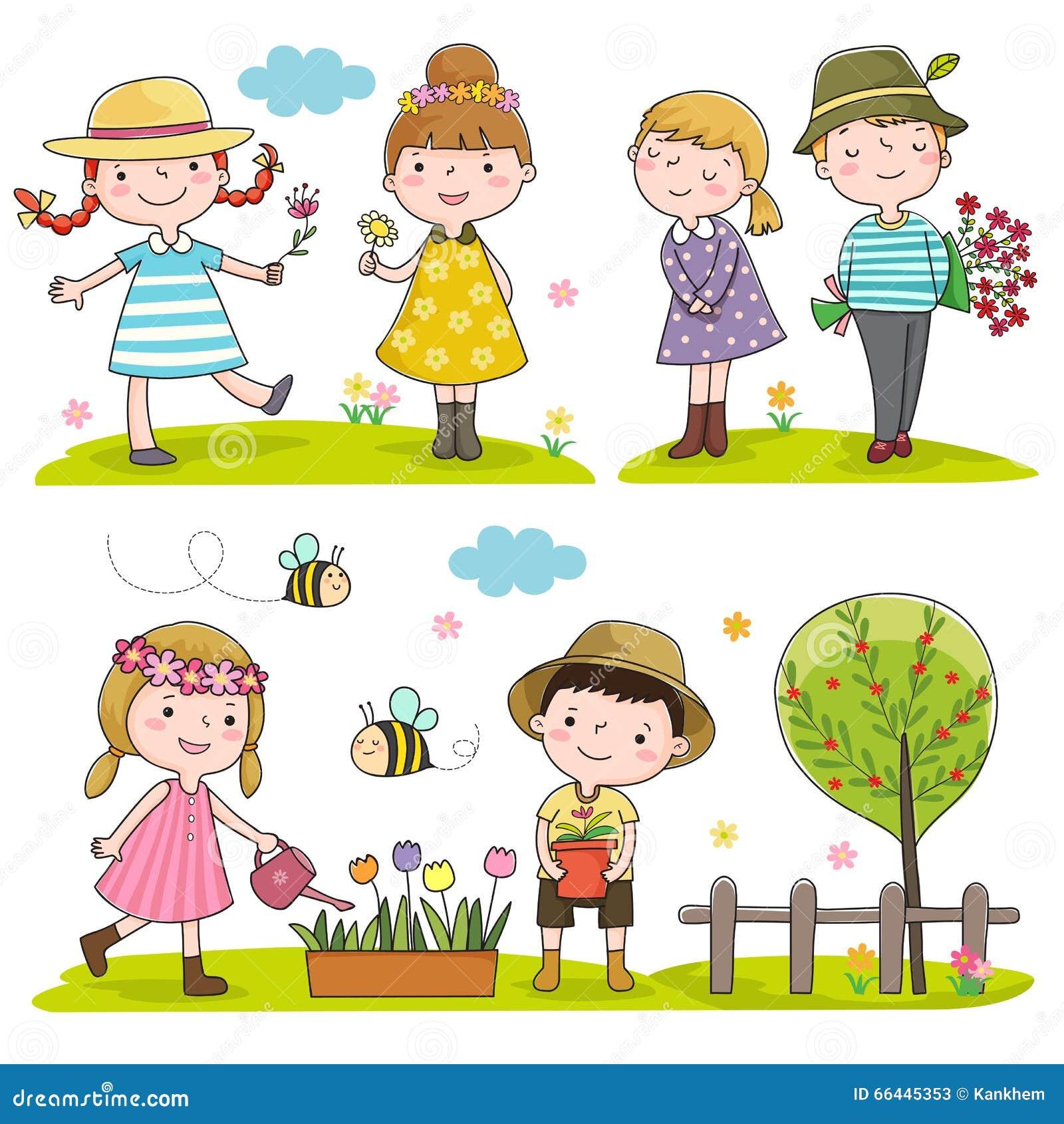 Saison extérieure d enfants heureux au printemps