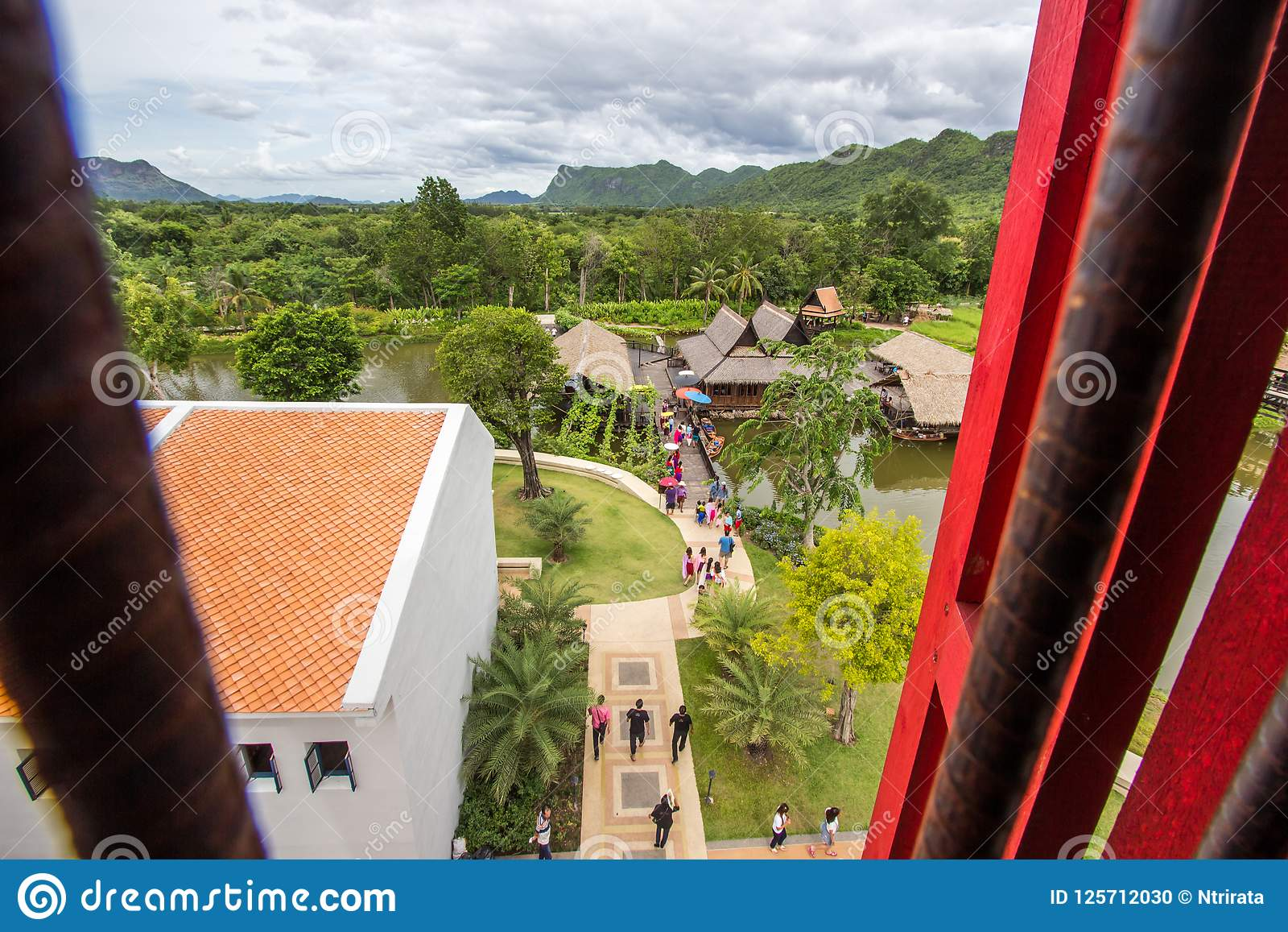 Saiyok district,Kanchanaburi province,Thailand on July 9,2017:Views from City Tower of Mallika City,1905 A.D.City of culture and