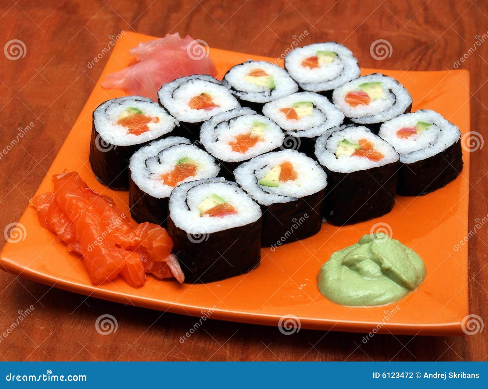 Sake avocado maki sushi stock photo. Image of dining, fish ...