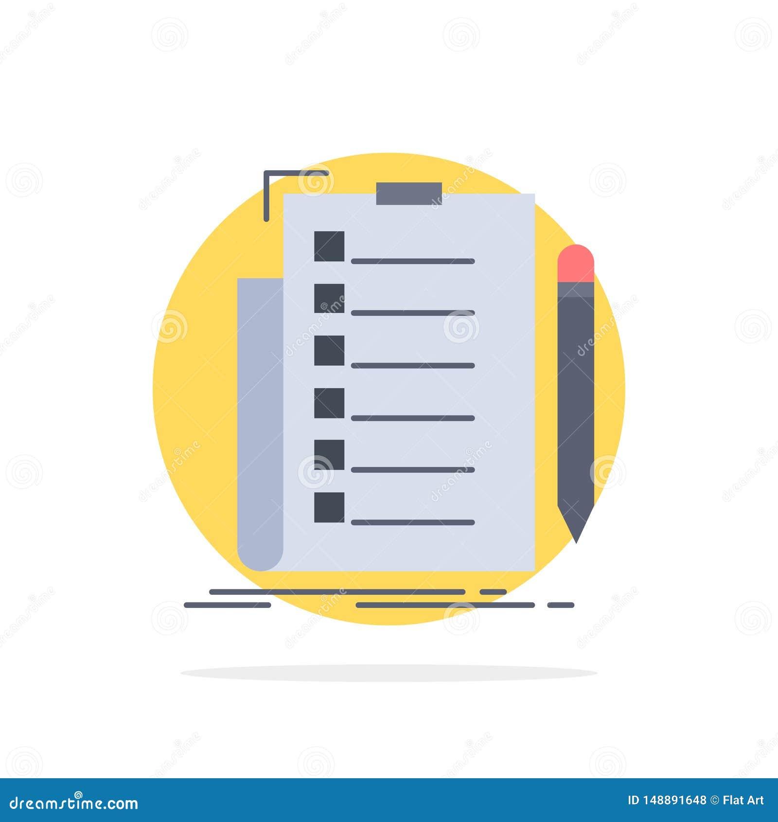 Sakkunskap kontrollista, kontroll, lista, för färgsymbol för dokument plan vektor