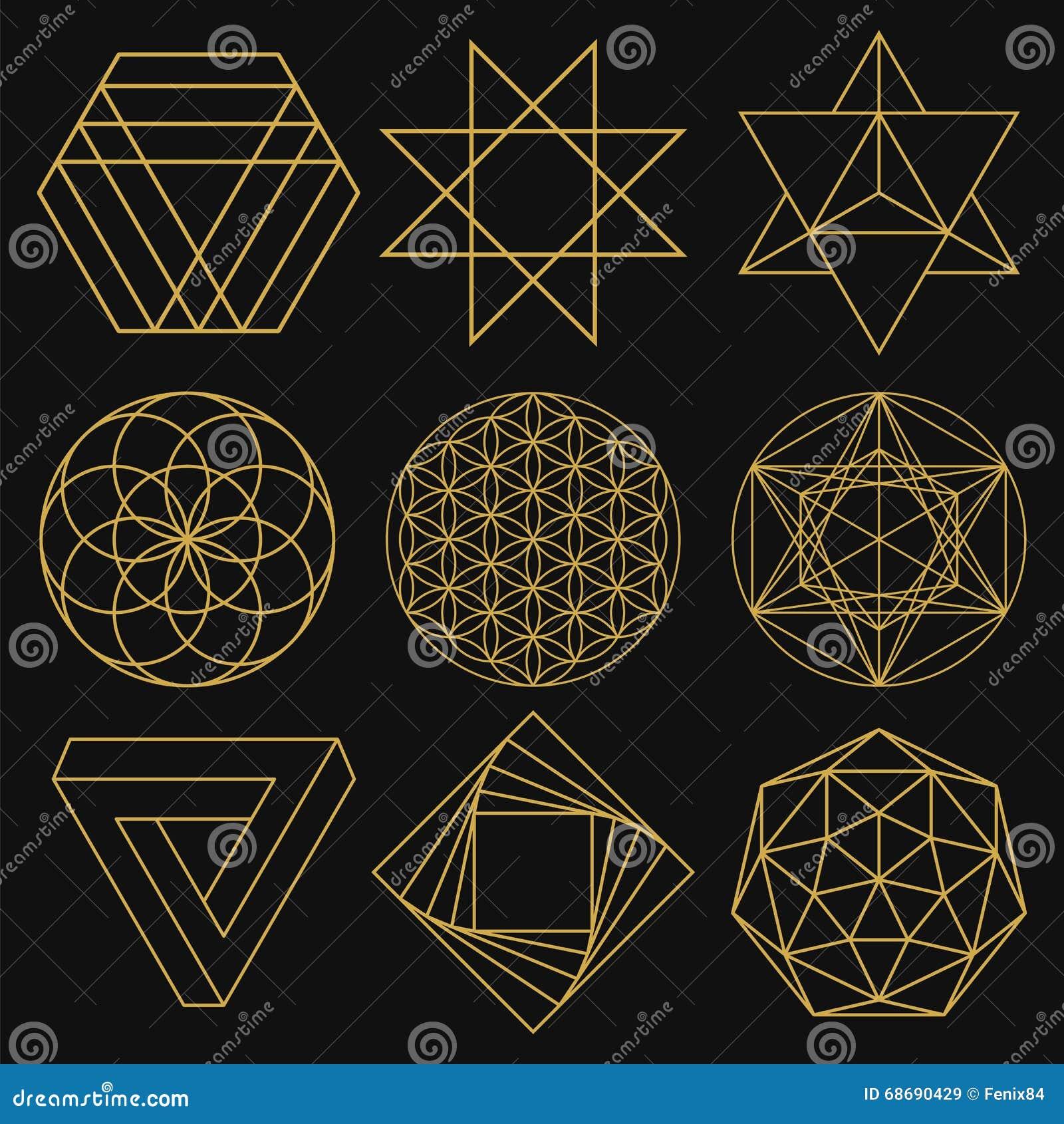 Sakral geometri Uppsättning av nio diagram också vektor för coreldrawillustration