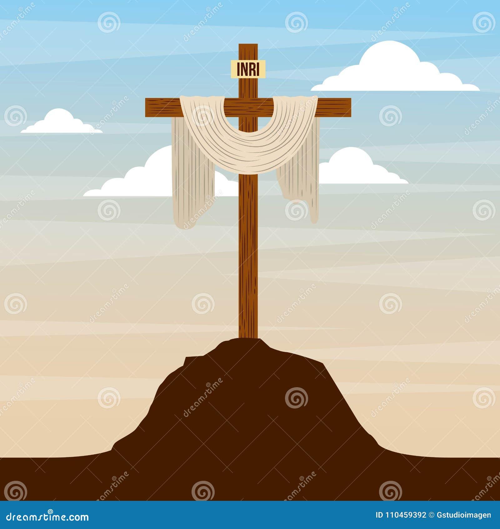 Sakralt kors i design för religion för kullehimmel katolsk
