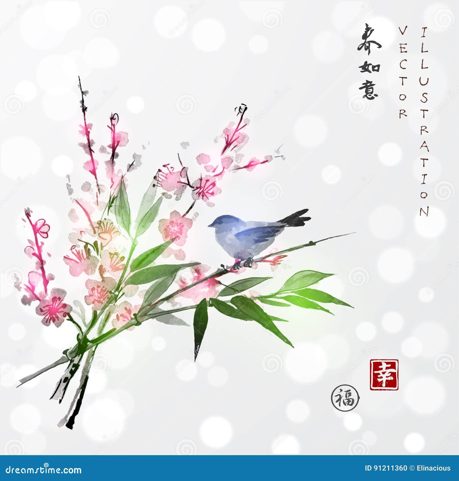 Sakura in bloesem, bamboetak en weinig vogel
