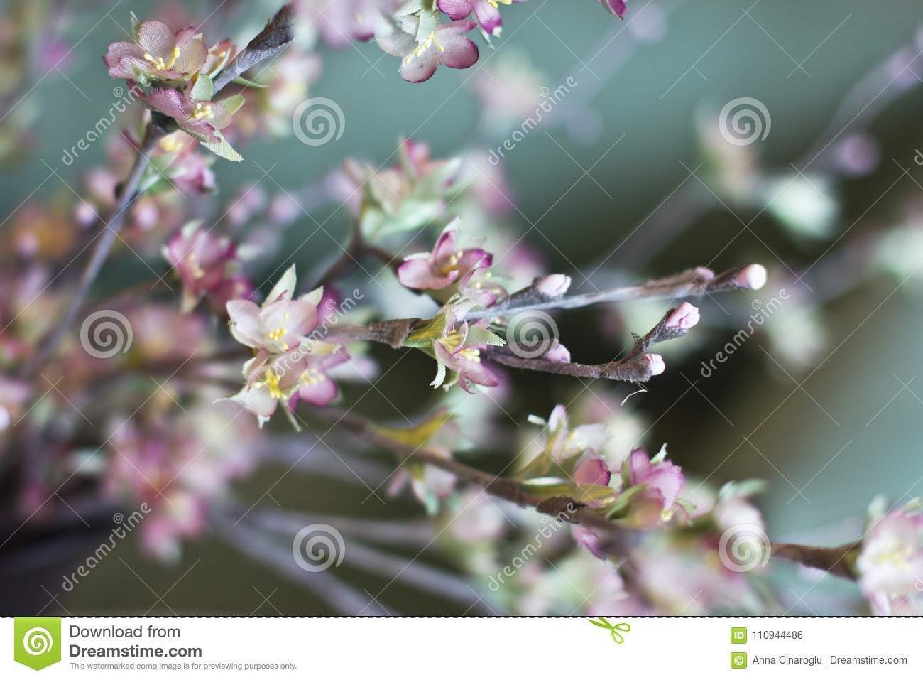 Sakura Branch Cherry Blossom Pink Artificial Flowers Made Of Si