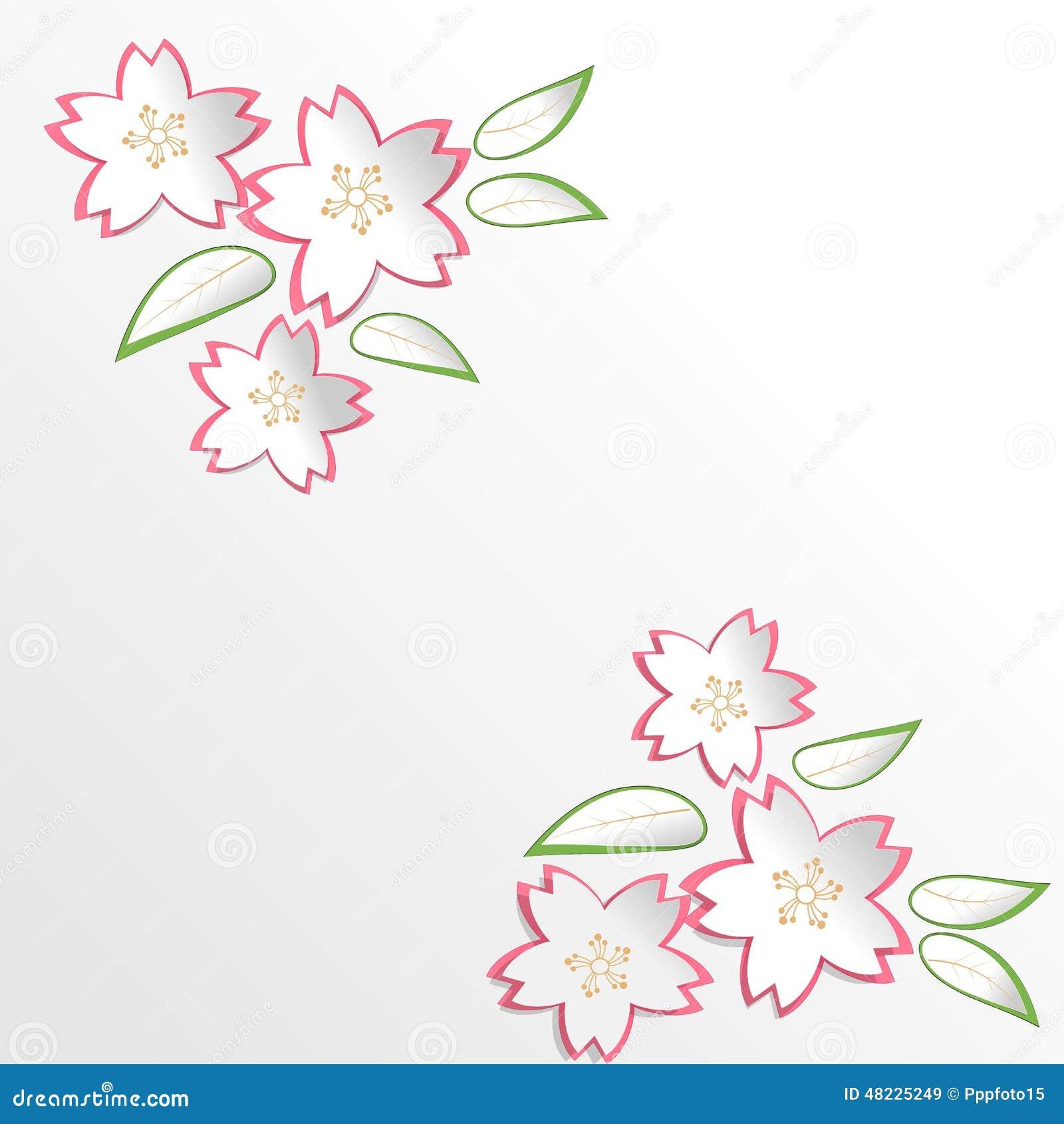 Sakura Cherry Blossom-Blumen im Papierschnitt-Arthintergrund