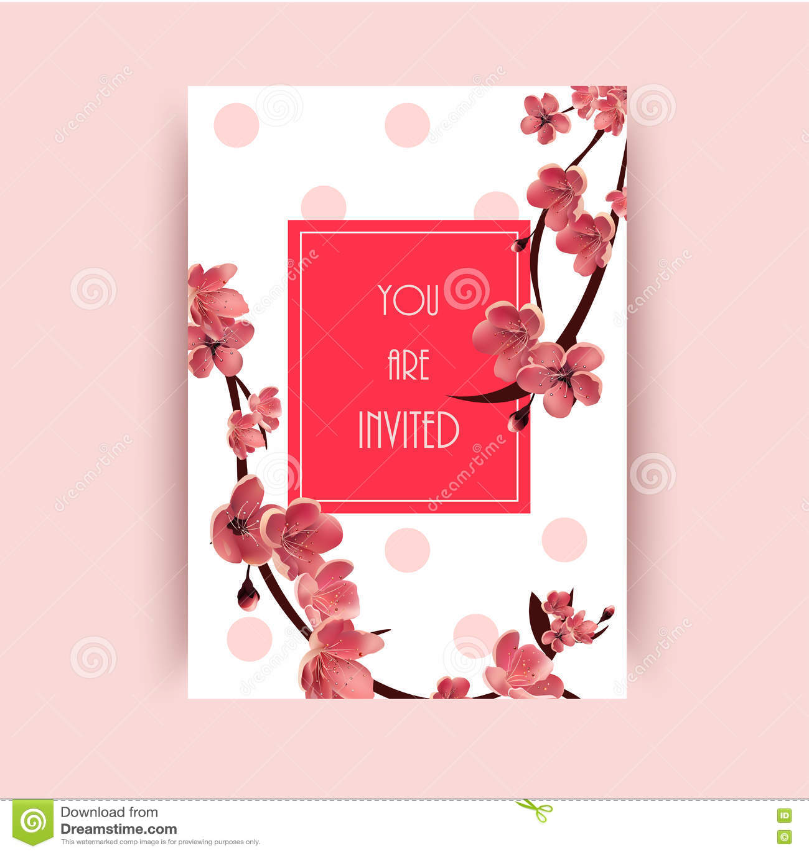 Sakura, Cherry Blossoming Tree Vector Background Illustration. Stock ...