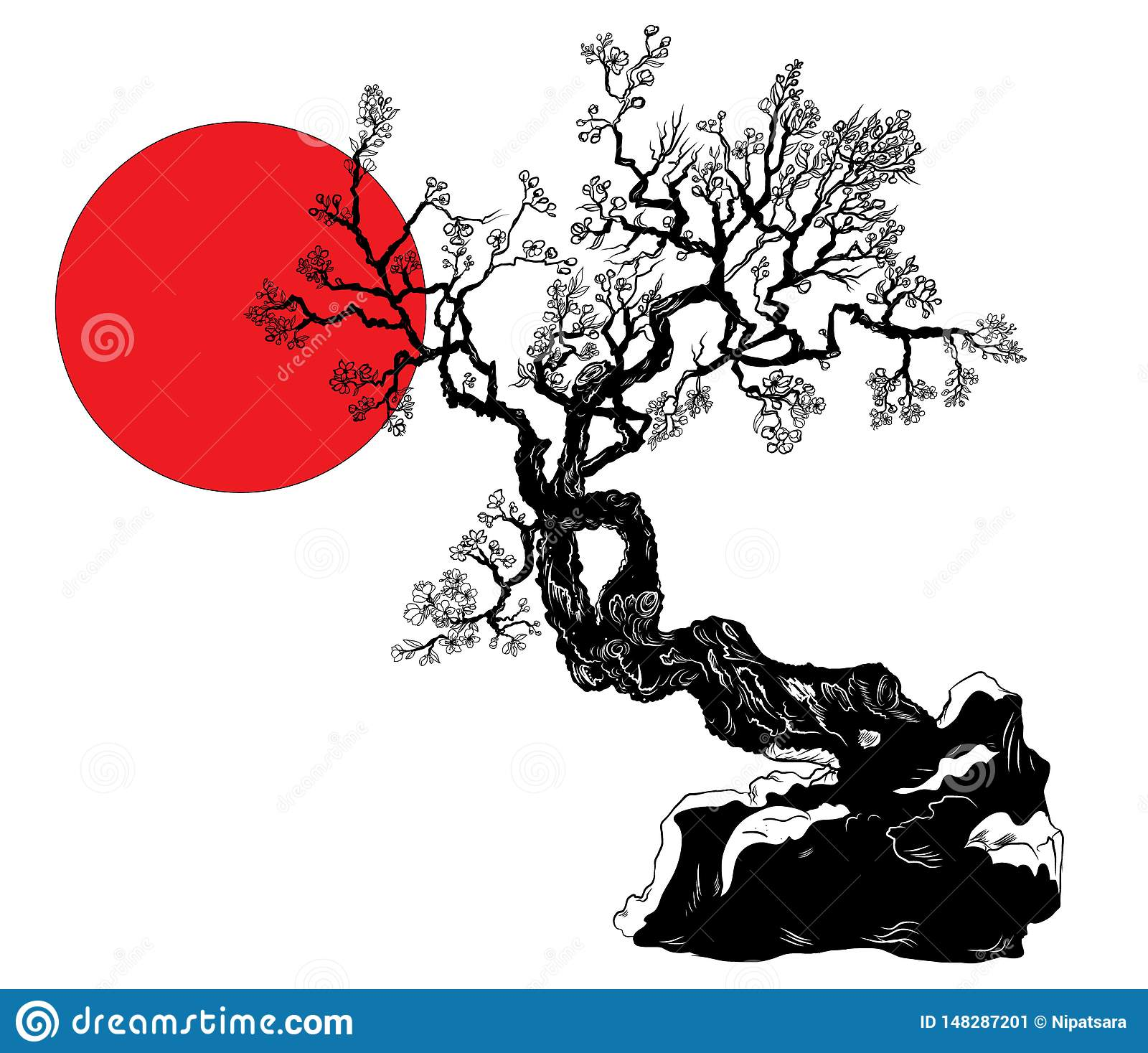 Cherry Blossom Flower Of Japan Outline And Silhouette