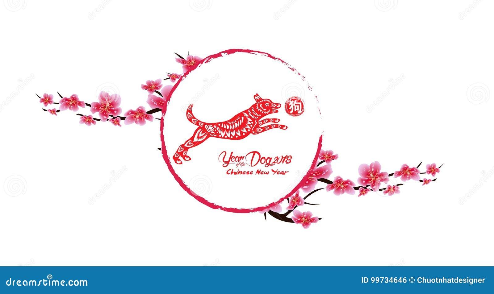 sakura flowers background cherry blossom isolated white background chinese new year 2018 hieroglyph