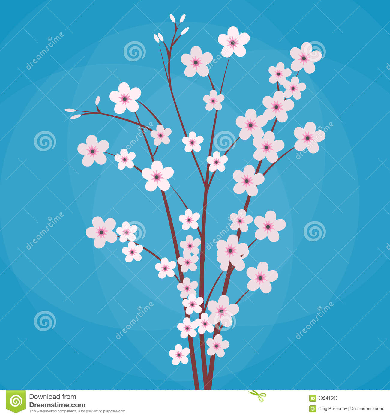 Sakura Japan Cherry Branch Stock Vector - Image: 68241536