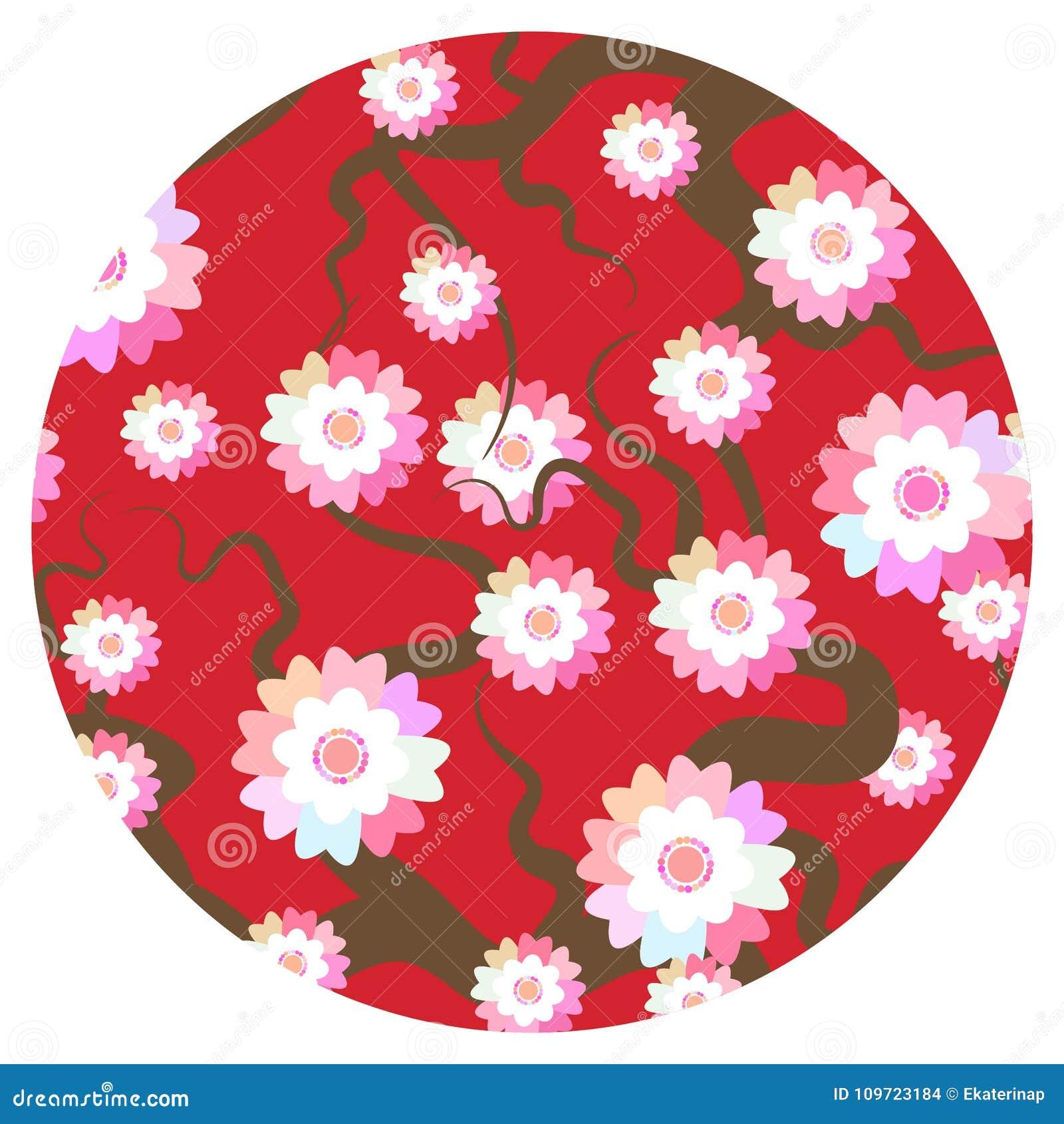 Sakura kwiatów natury tło z okwitnięcie gałąź różowi kwiaty Czereśniowego drzewa popielatych gałąź round karty sztandaru japoński