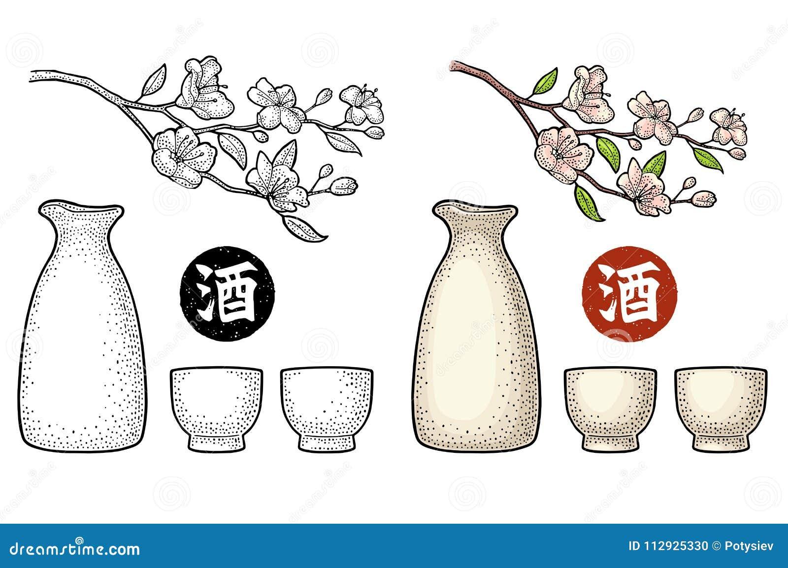 Sakura okwitnięcie Wiśni gałąź z kwiatami i pączkiem Płatków spadać