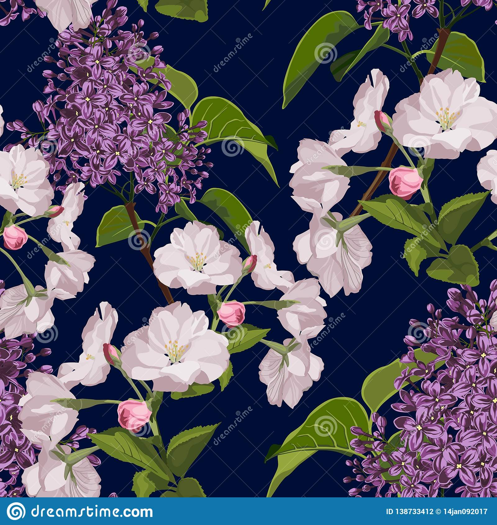 Sakura. Seamless pattern. Pink Cherry blossom branches with lilac.