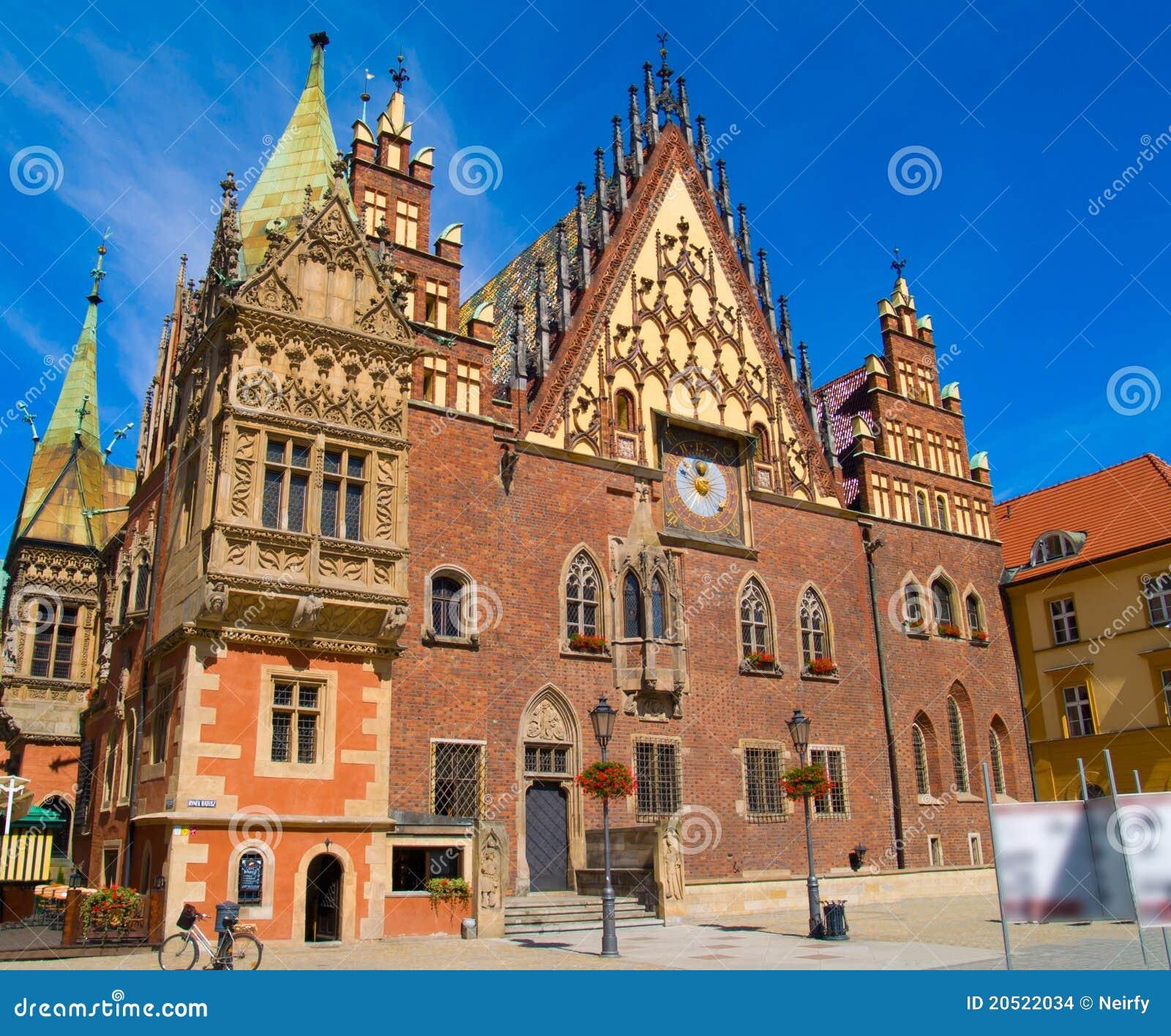 Salão de cidade do Wroclaw, Poland