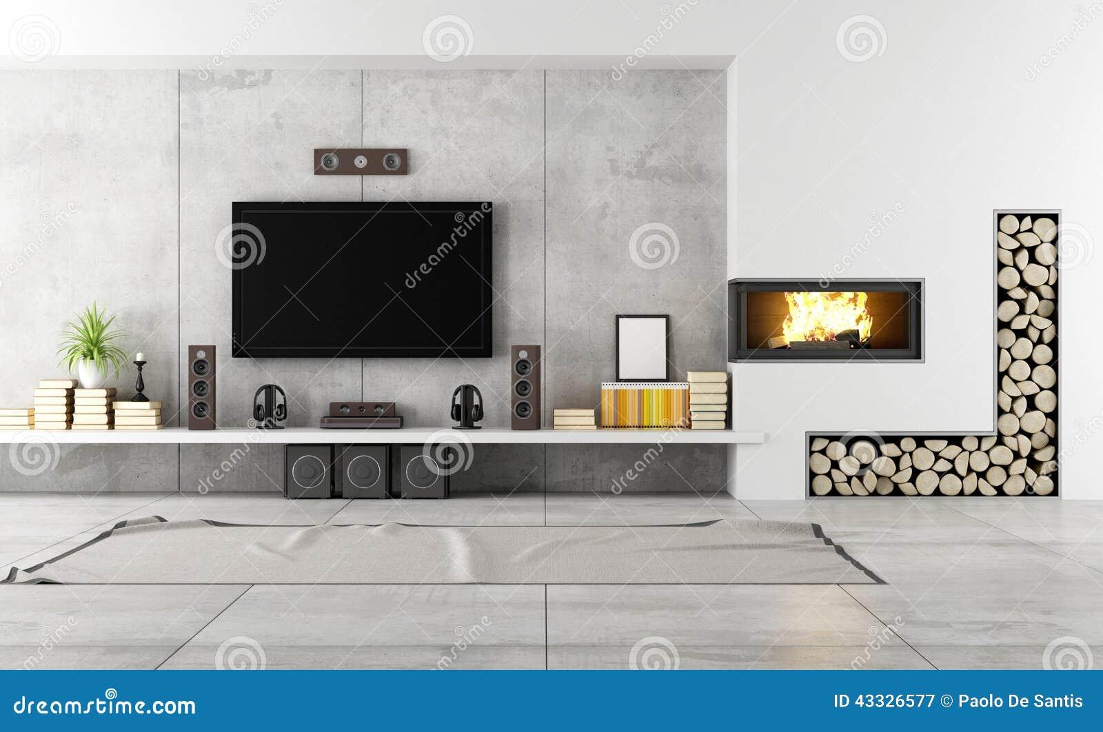 Sal n contempor neo con la chimenea stock de ilustraci n - Salones con chimenea y television ...