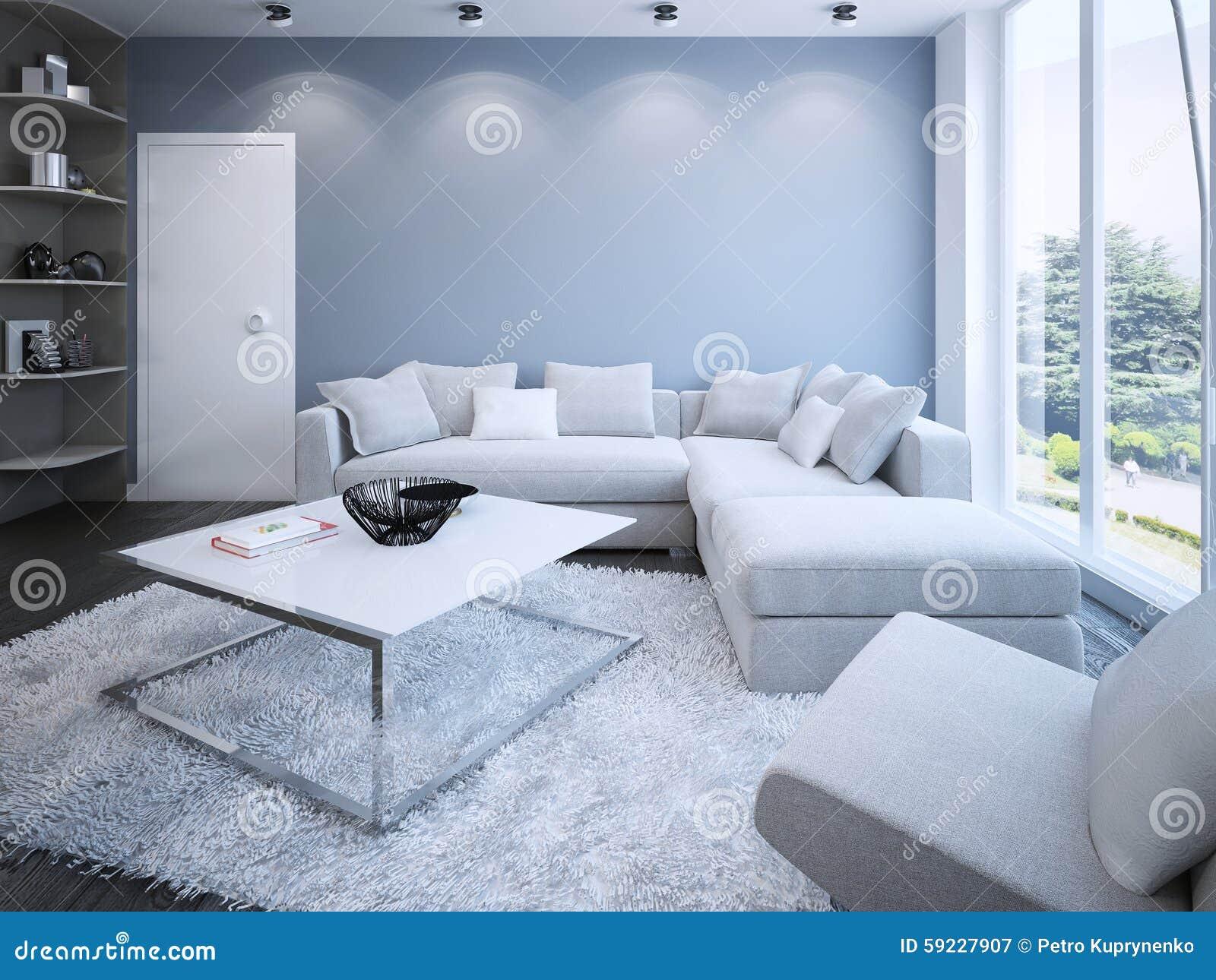 Download Salón Contemporáneo Con Las Paredes Azules Stock de ilustración - Ilustración de contemporáneo, minimalist: 59227907