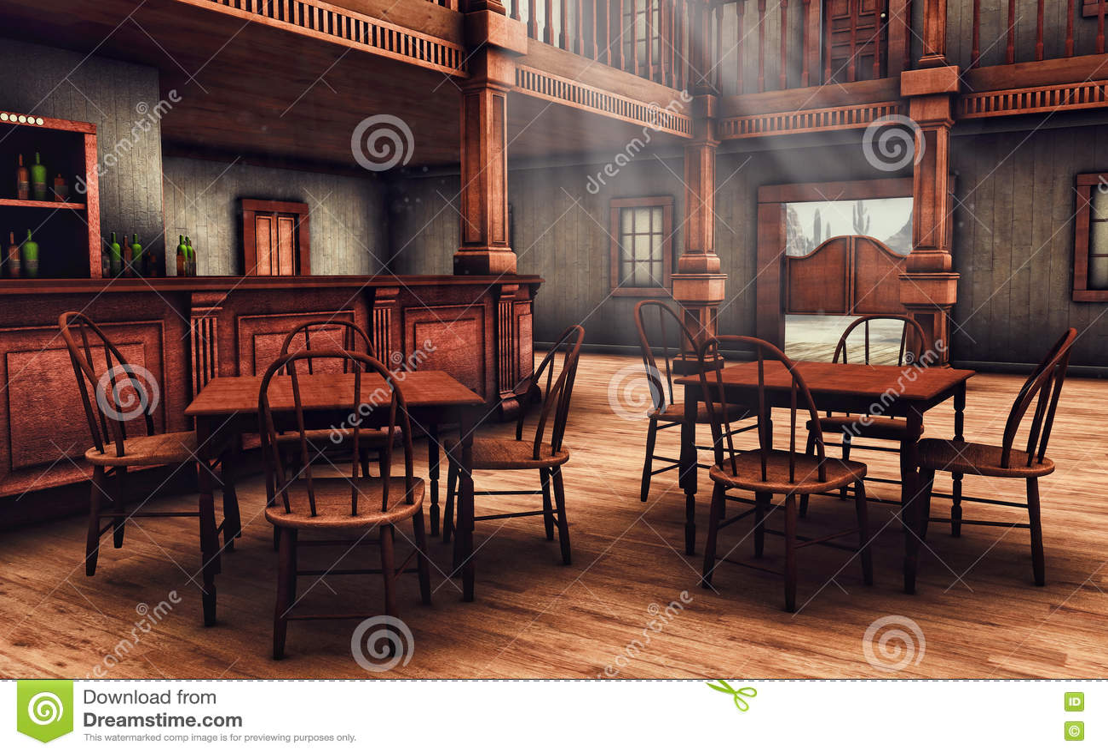 Salon Del Oeste Salvaje De Madera Stock De Ilustracion Ilustracion - Salon-madera