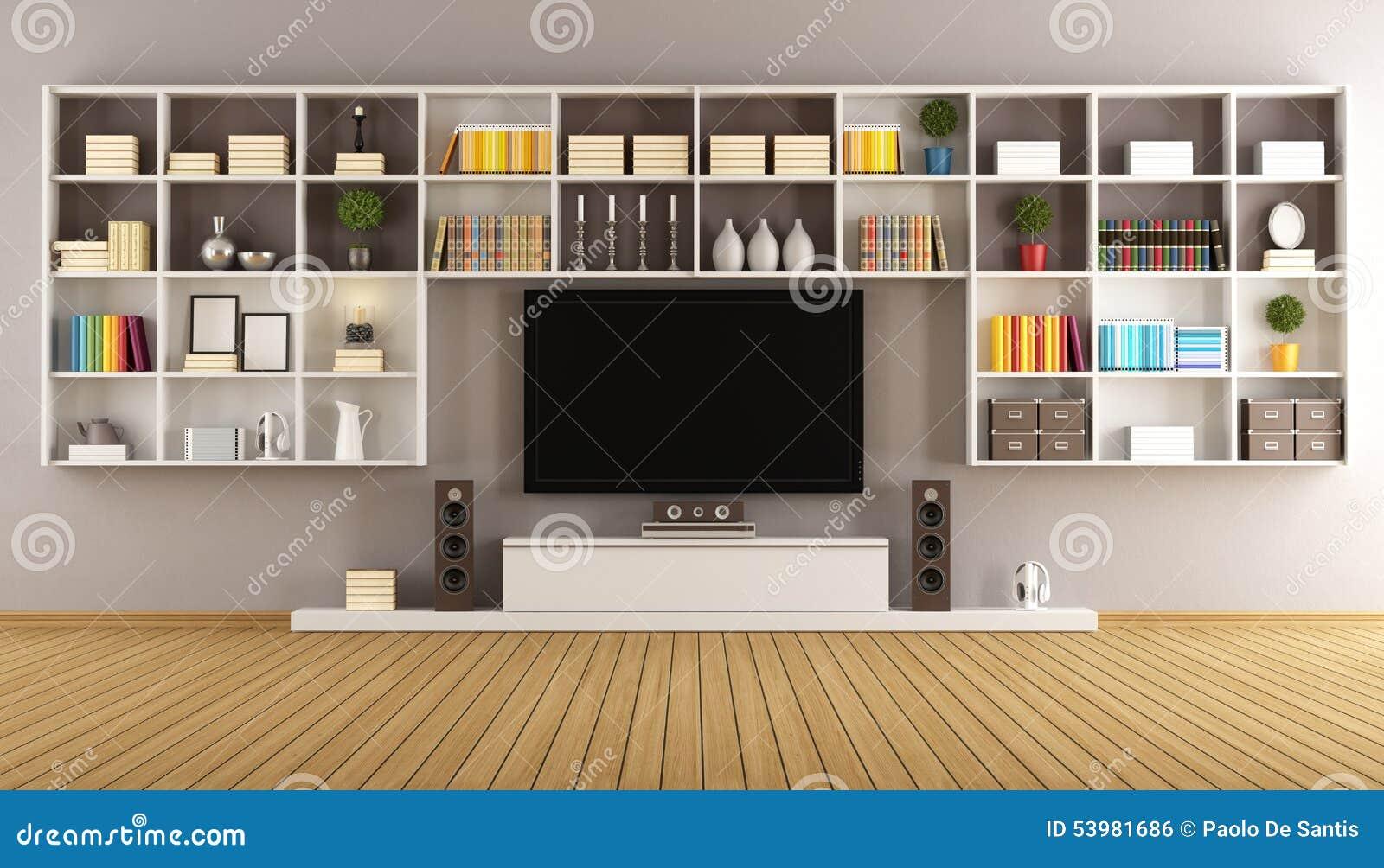 Sal n moderno con el estante para libros y la televisi n - Estantes para libros ...