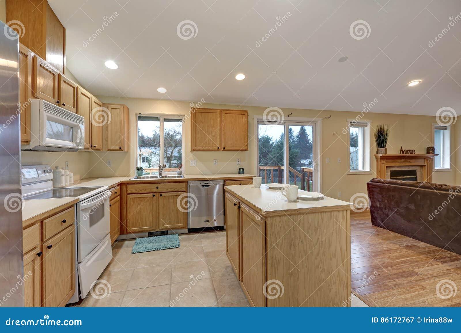 Sala Aberta Da Cozinha Do Conceito Da Luz Com Teto Arcado Imagem De