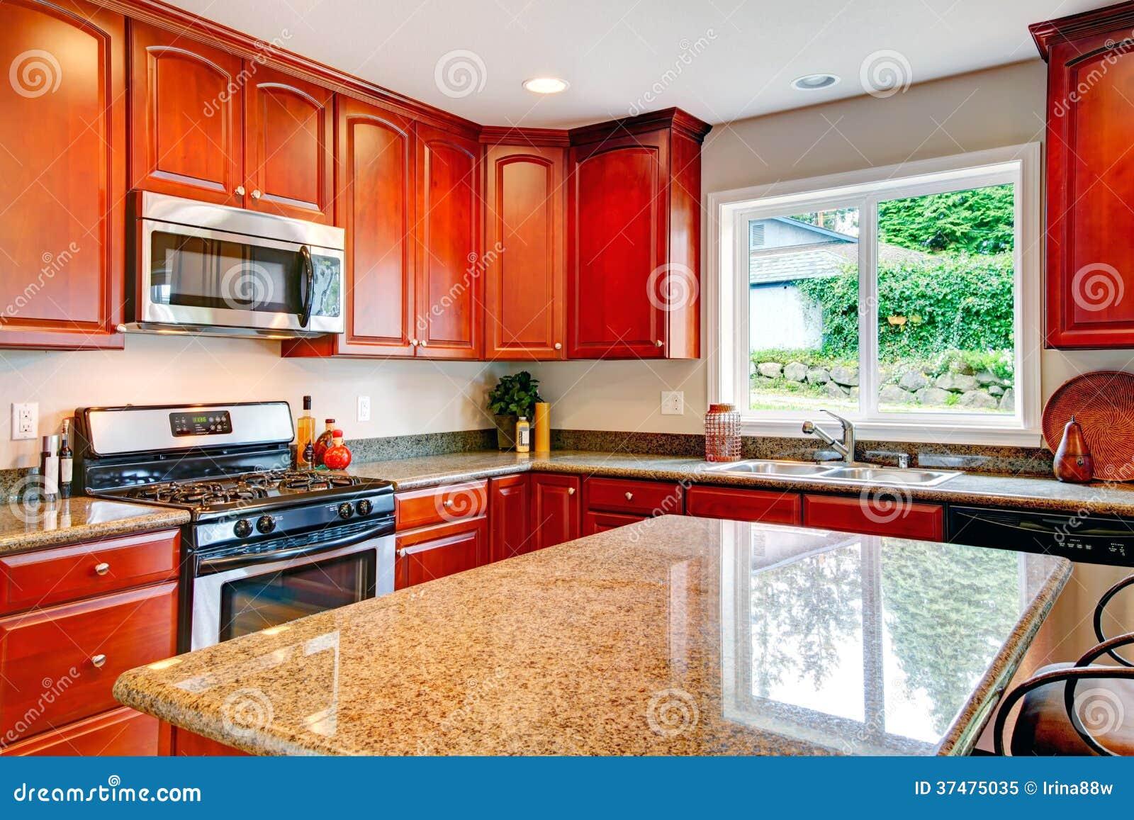 #BC2C0F Cozinha Com Combinação De Madeira Do Armazenamento Da Cereja Foto de  1300x957 px Planos De Armários De Cozinha_993 Imagens