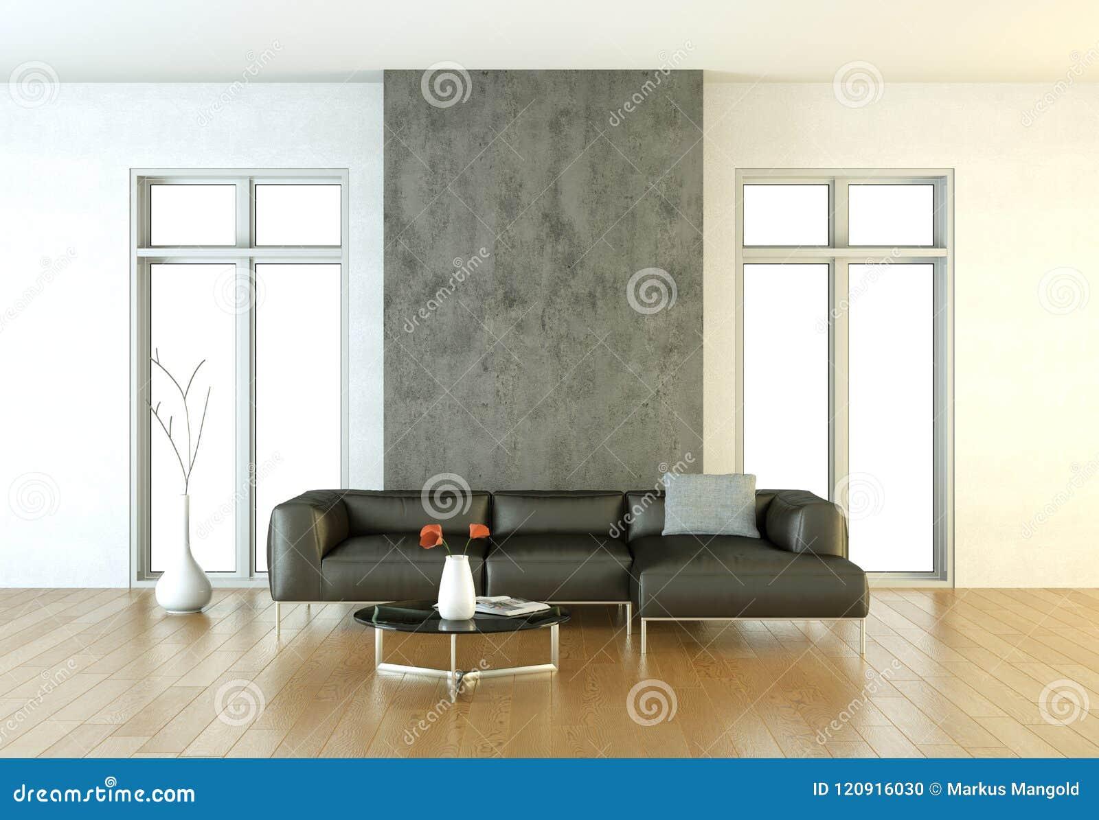 Sala brilhante moderna do design de interiores com sofá preto