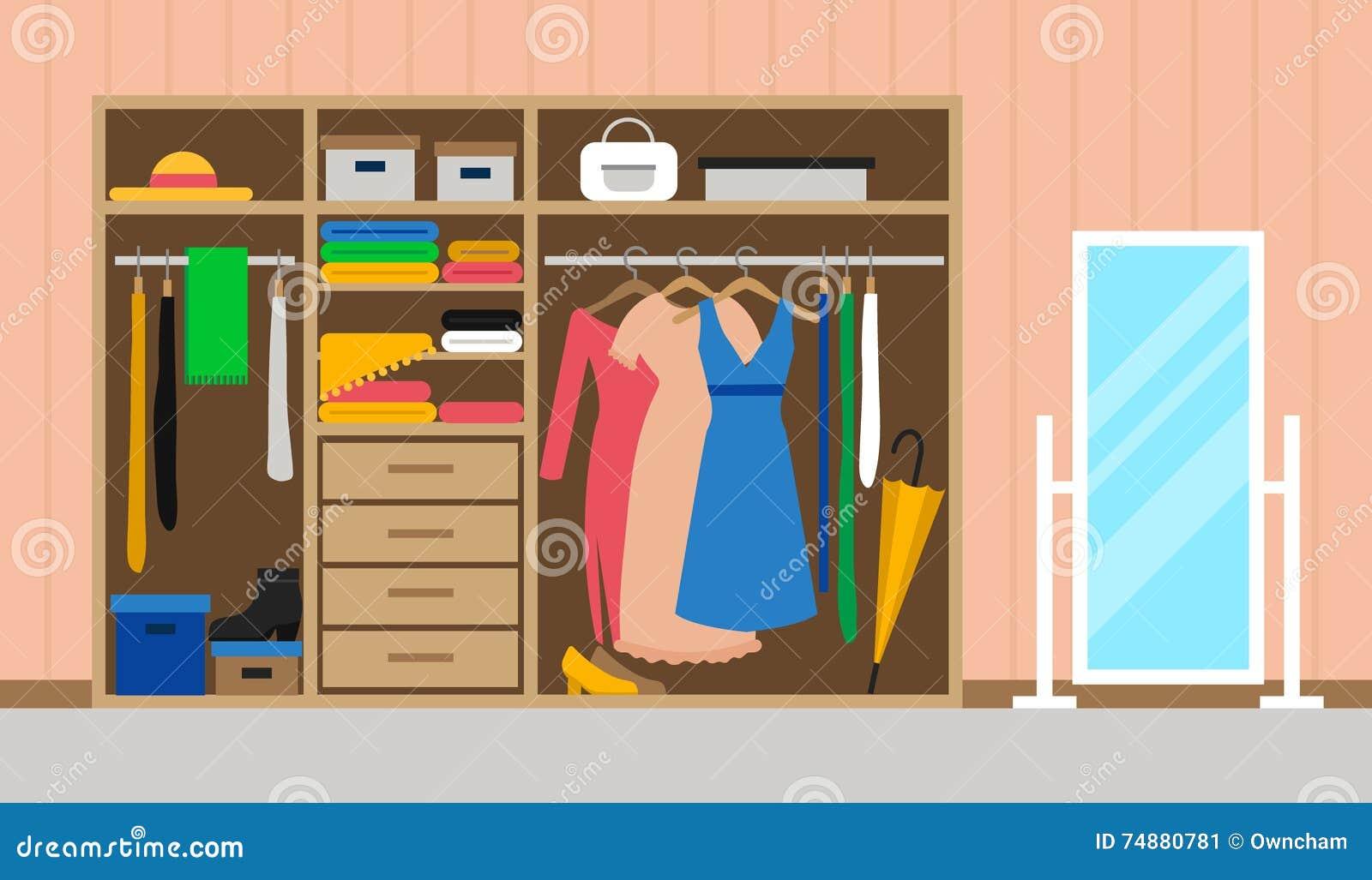 Sala com vestuário e espelho