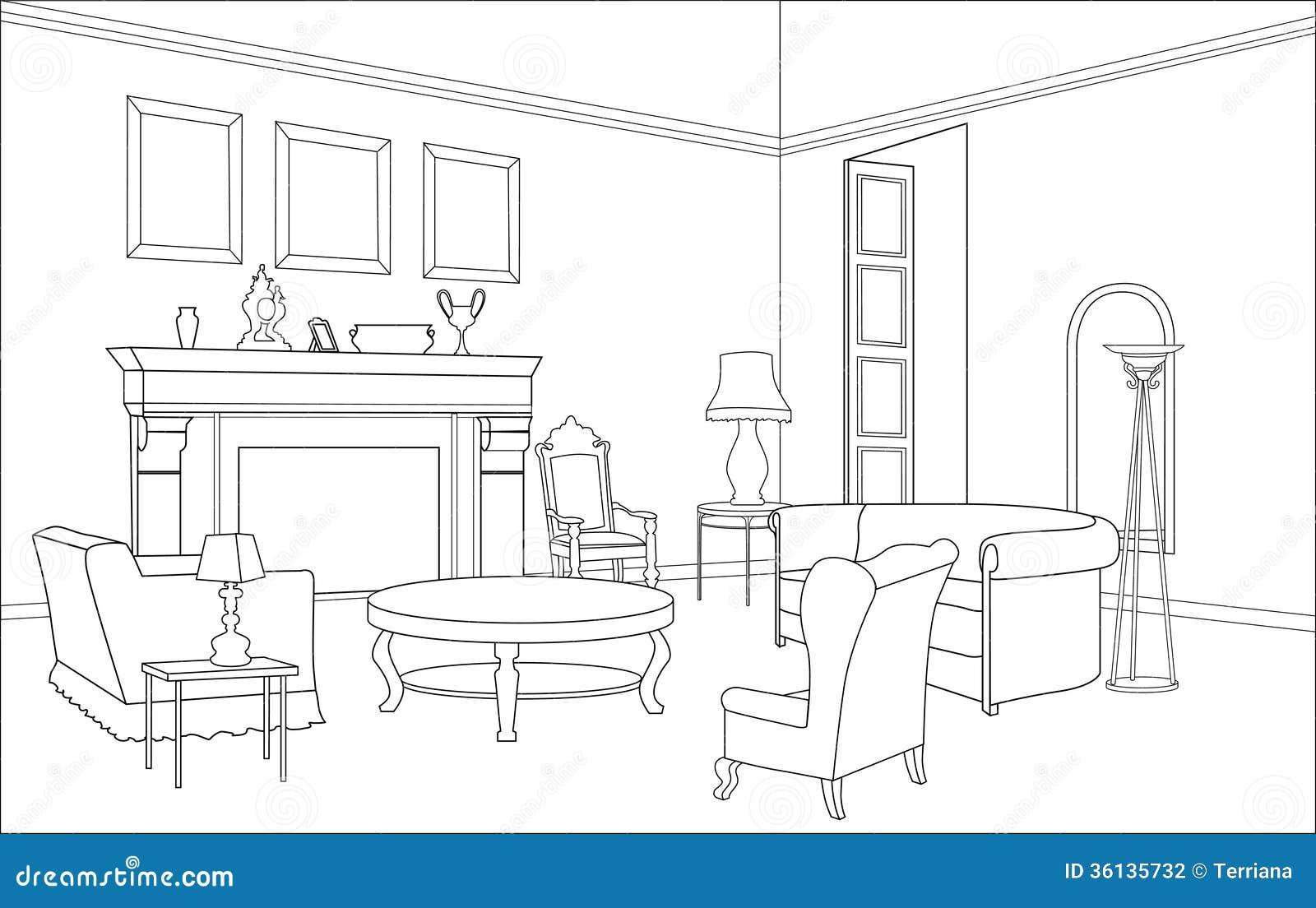 Sala Con La Chimenea Muebles Editable Interior En Estilo