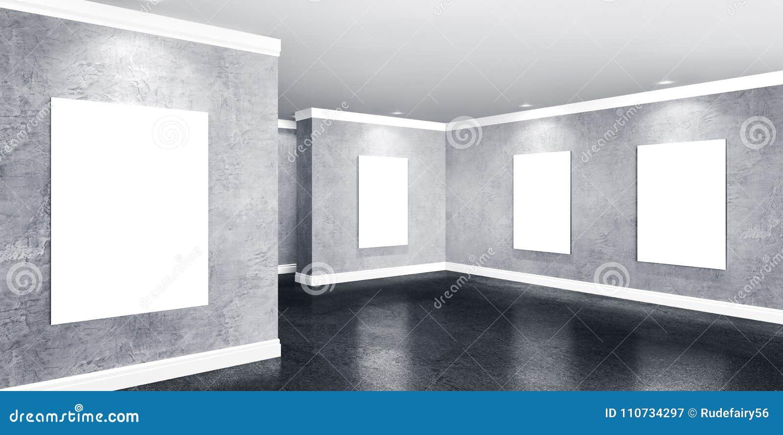 Sala Concreta Moderna Da Galeria Com Os Cartazes Em Paredes  -> Parede Galeria Sala