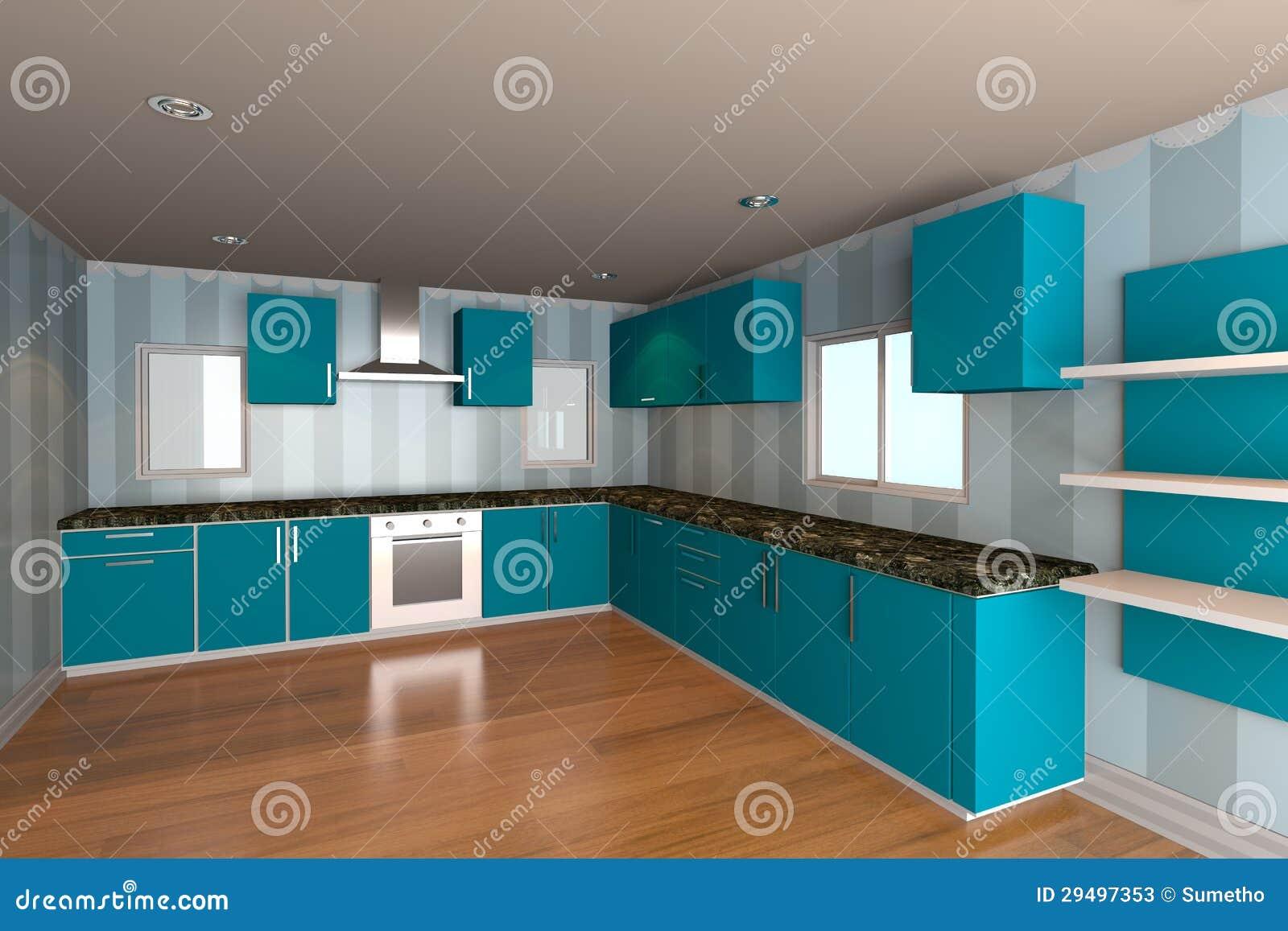 Interior Moderno Da Cozinha Com Luz Papel De Parede Azul Imagem De