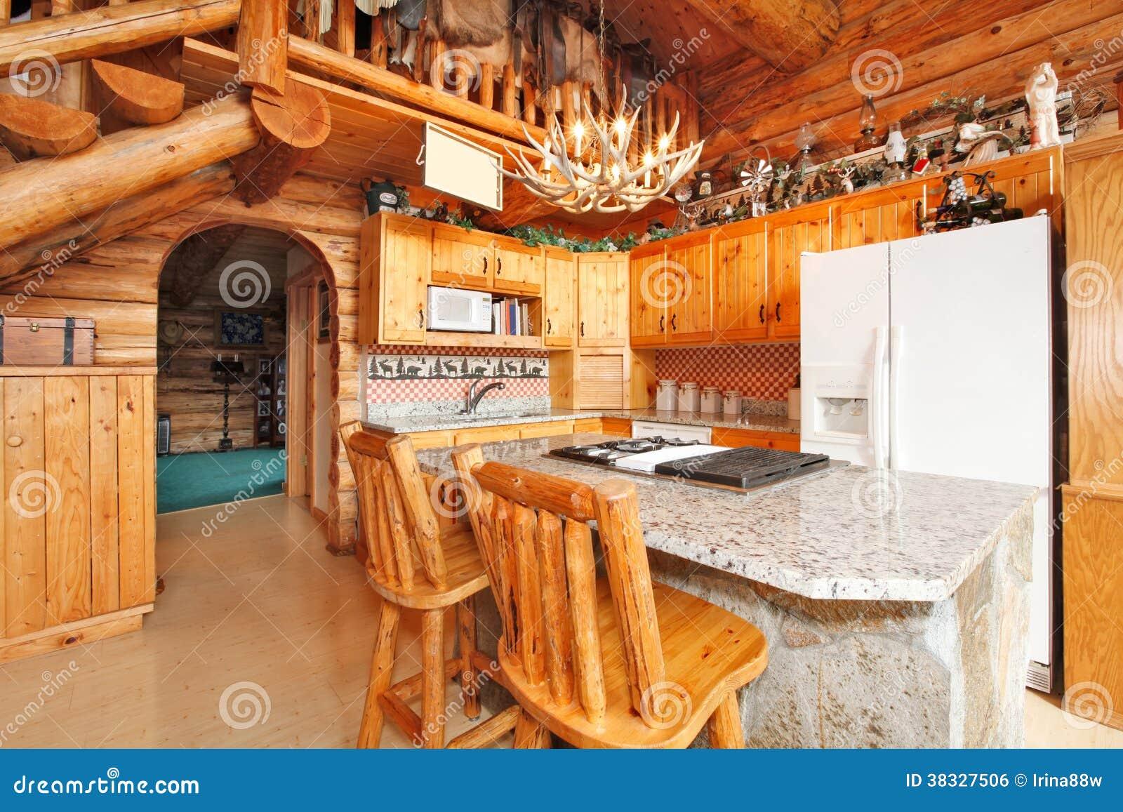 Sala Da Cozinha Na Casa Da Cabana Rústica De Madeira Imagem de Stock  #BA4A10 1300x957