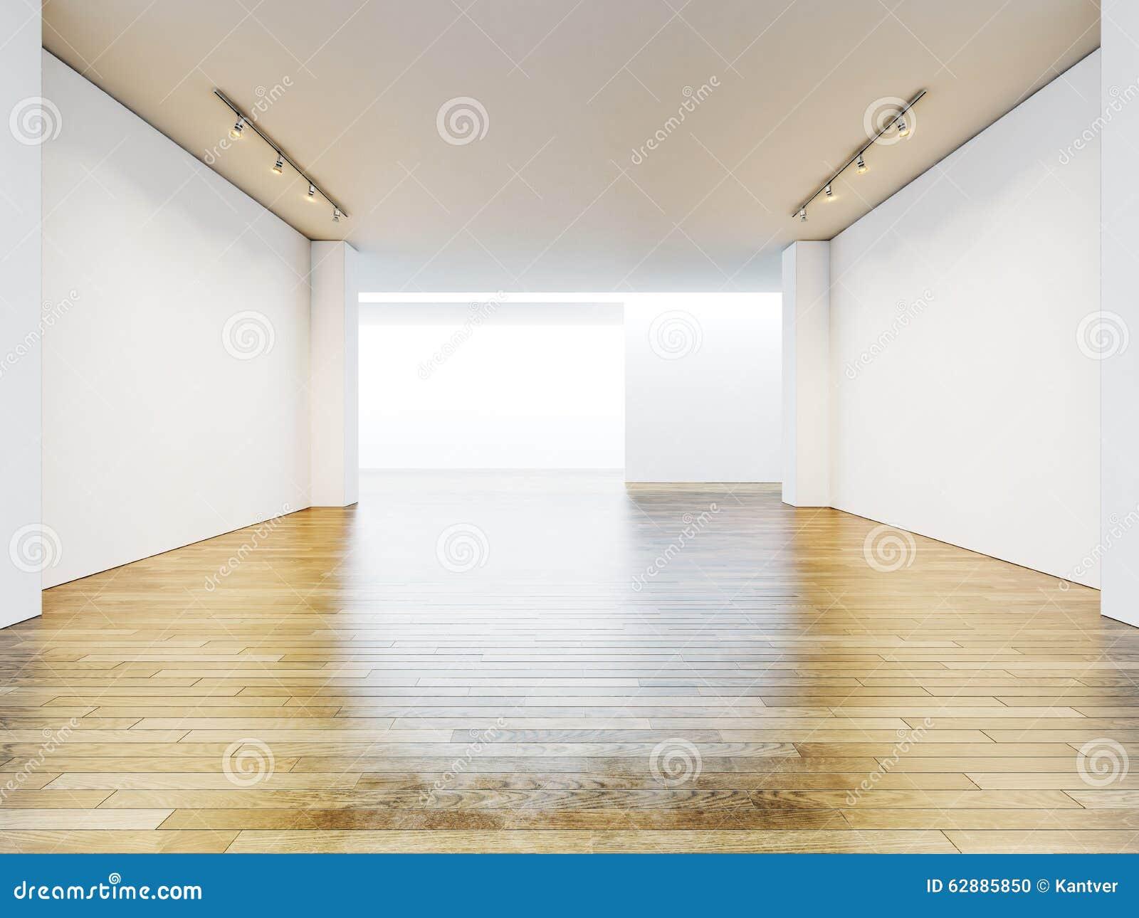 Sala Da Galeria Com Paredes Vazias E De Madeira Vazios Foto De Stock  -> Parede Galeria Sala