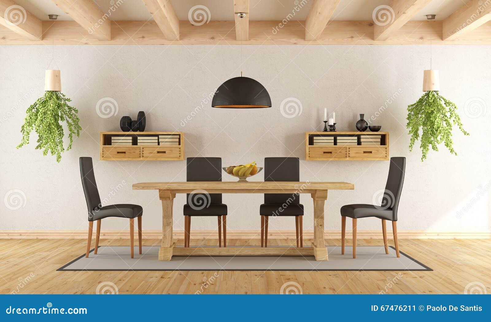 Sala da pranzo bianca con la tavola rustica illustrazione for Tavola sala da pranzo