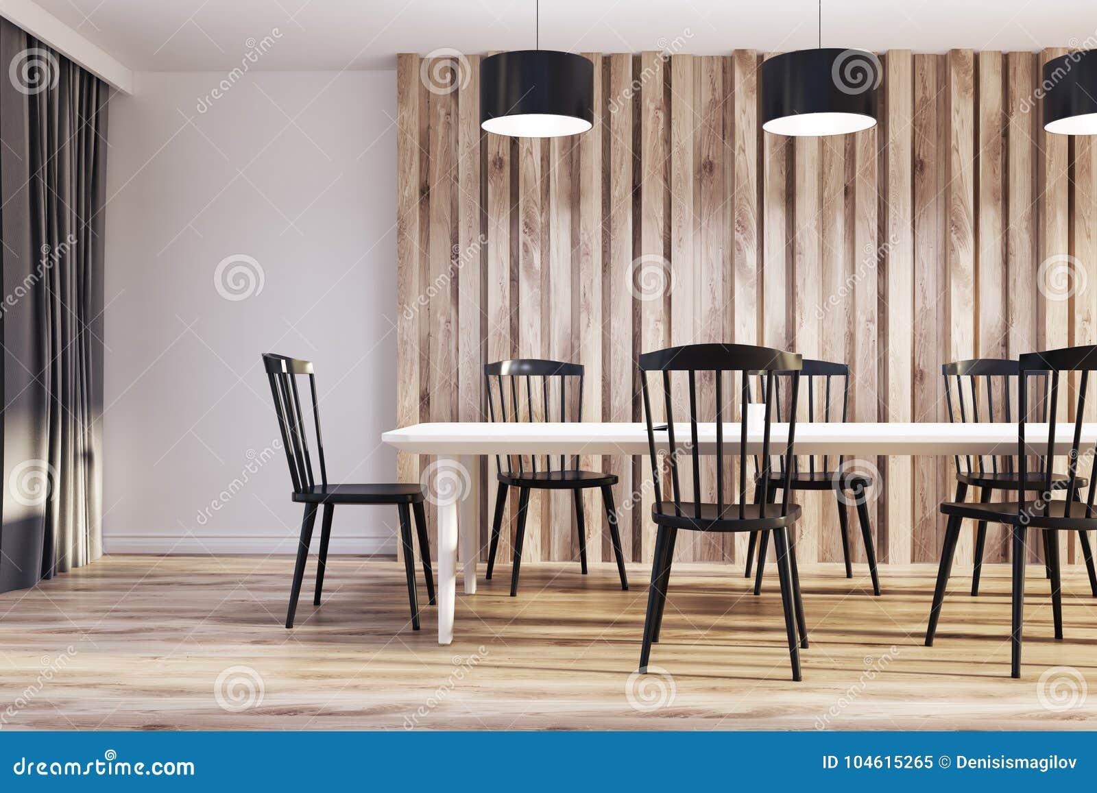 Sedie Bianche E Legno : Sala da pranzo bianca e di legno sedie nere illustrazione di