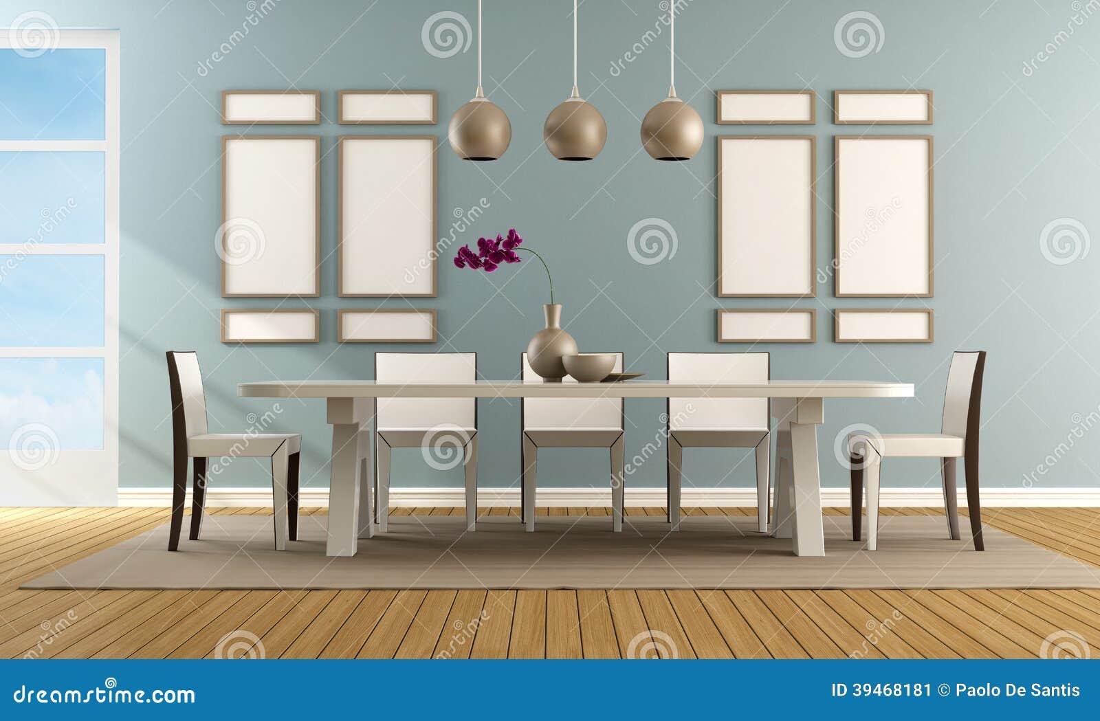 Sala Da Pranzo Blu Contemporanea Illustrazione Di Stock Immagine  #8D6C3E 1300 870 Sala Da Pranzo Blu