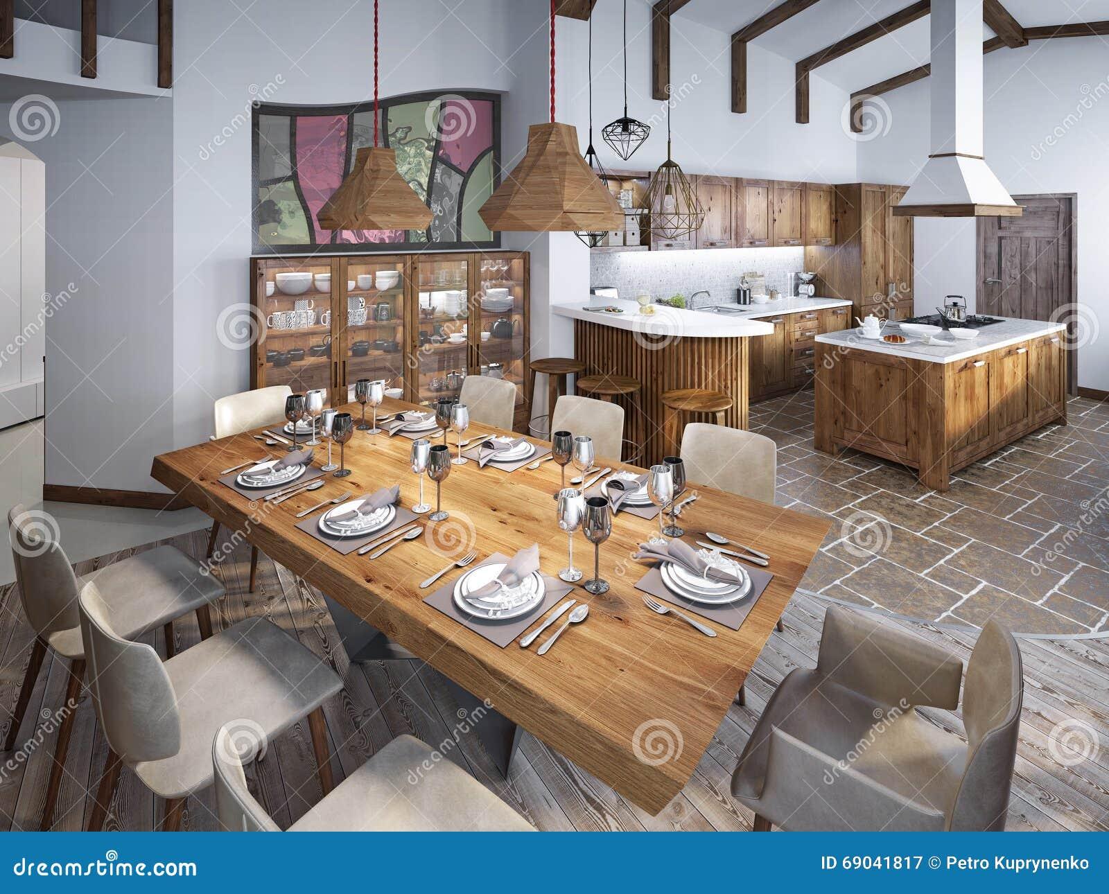 Sala da pranzo con il grande tavolo da pranzo e soffitti alti nel lof immagine stock immagine - Tavolo sala da pranzo ...