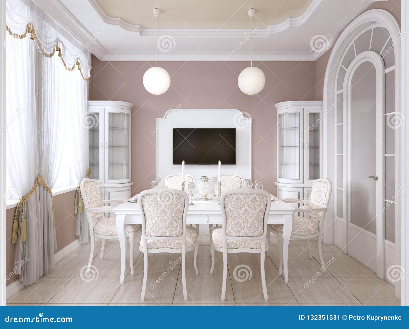 Sala Da Pranzo Con La Tavola Bianca E Sedie Per Sei ...