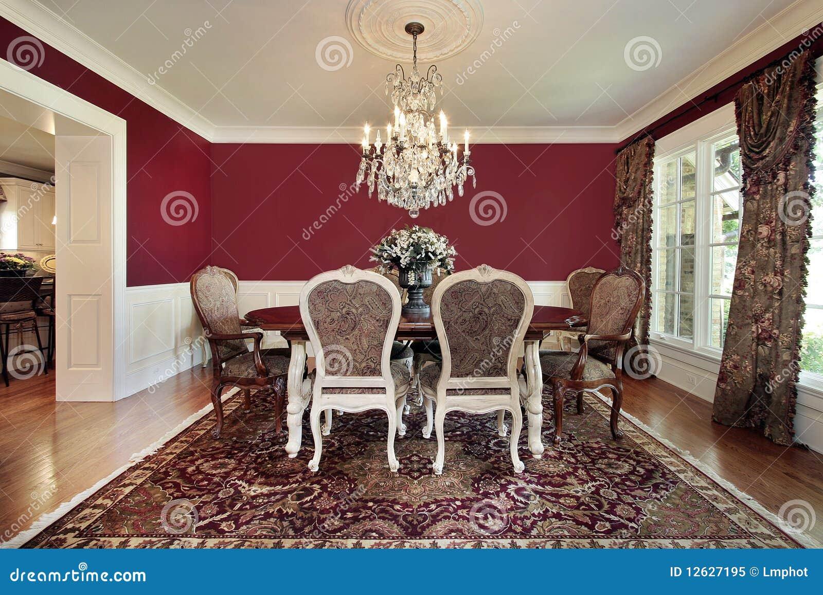 Sala da pranzo con le pareti rosse immagine stock immagine 12627195 - Pareti sala da pranzo ...